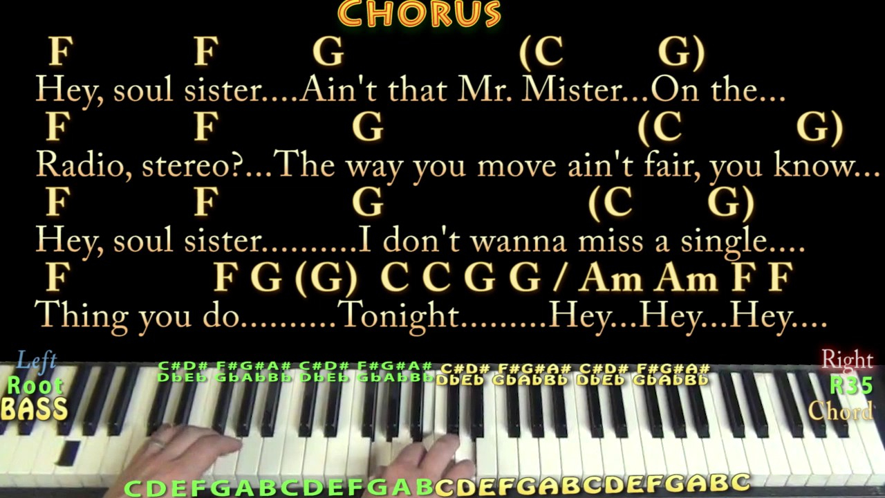 Hey Soul Sister Chords Hey Soul Sister Train Piano Cover Lesson In C With Chordslyrics