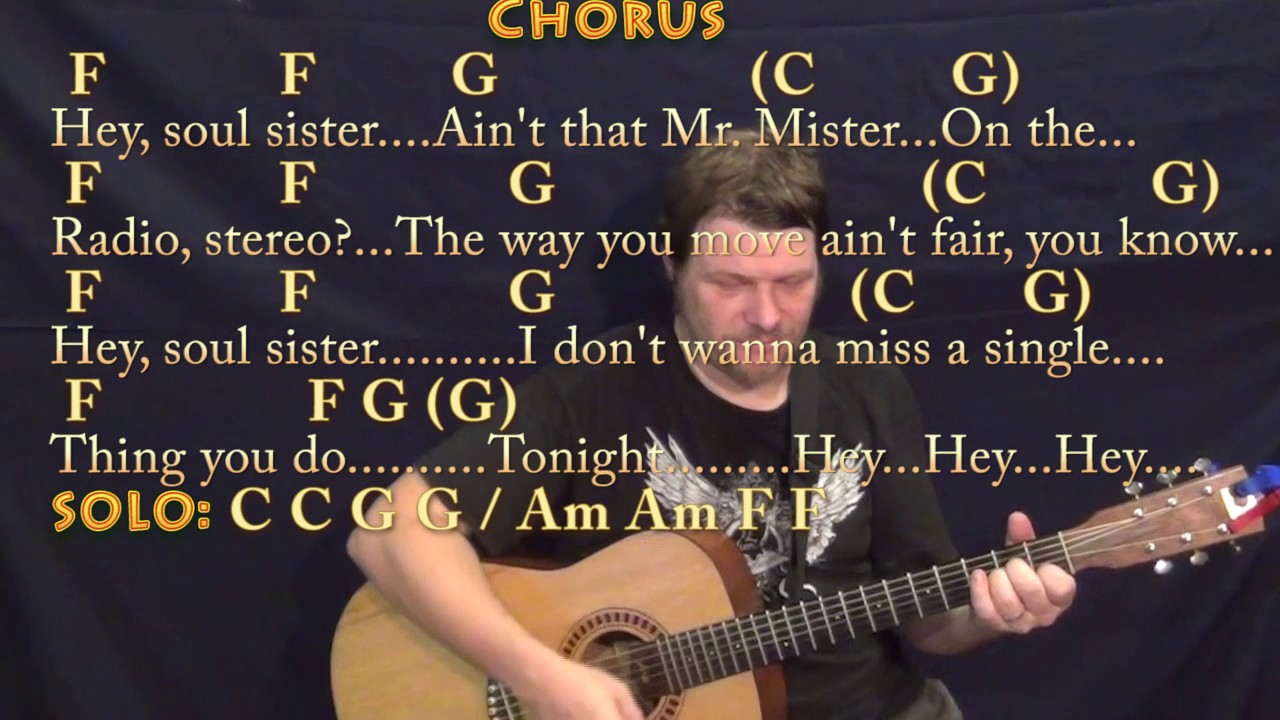 Hey Soul Sister Chords Hey Soul Sister Train Strum Guitar Cover Lesson In C With Chordslyrics
