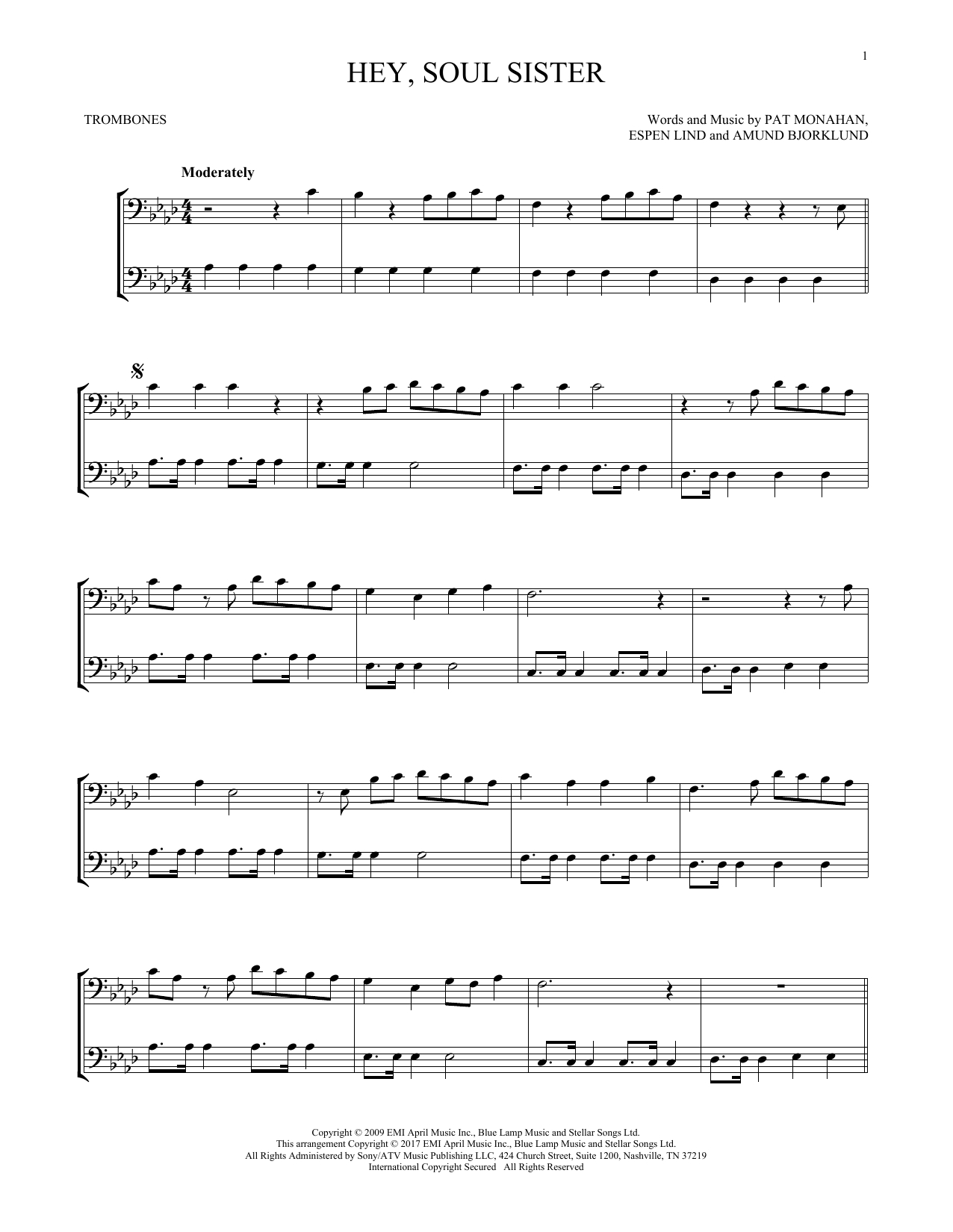 Hey Soul Sister Chords Train Hey Soul Sister Sheet Music Notes Chords Download Printable Trombone Duet Sku 253071
