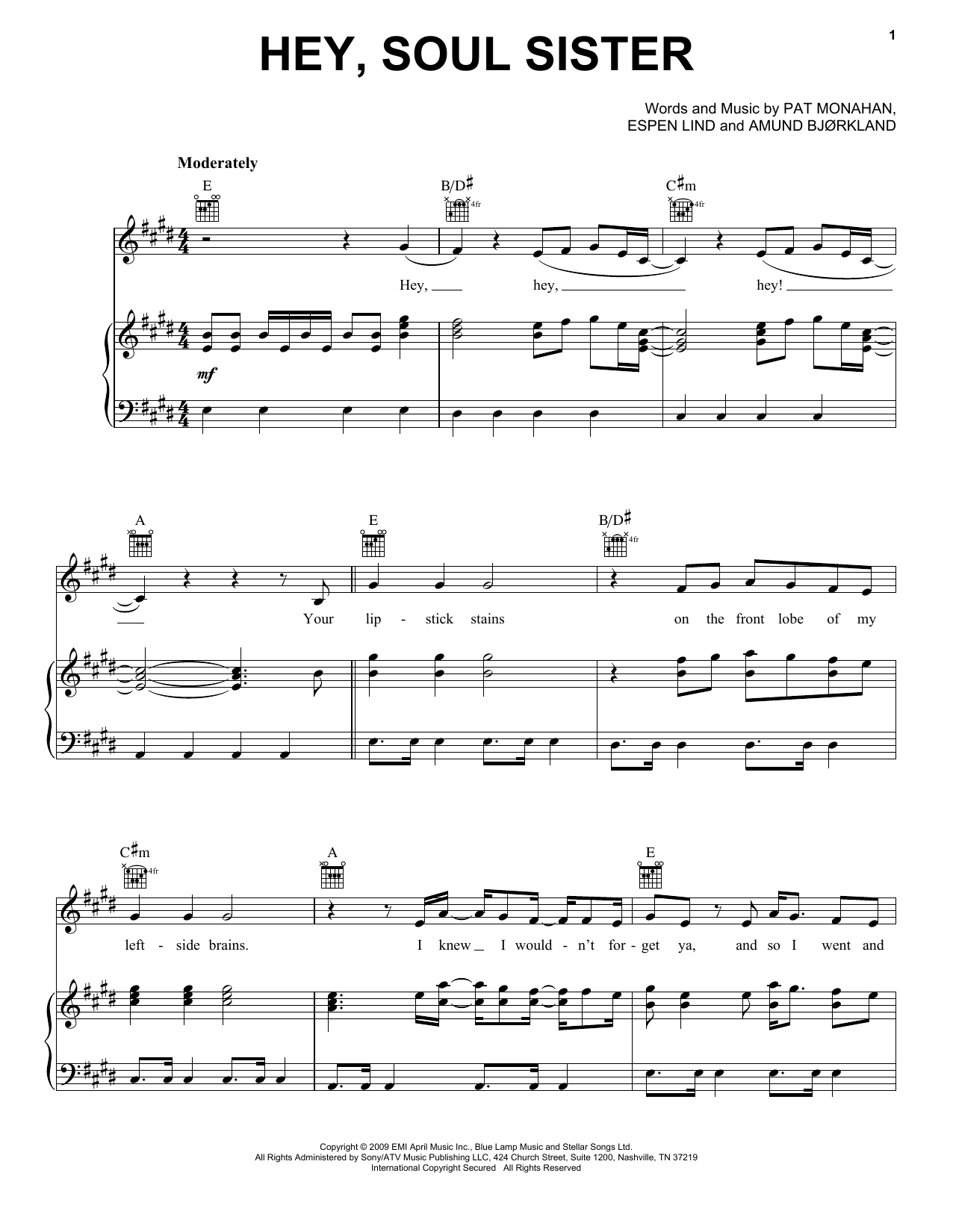 Hey Soul Sister Chords Train Hey Soul Sister Sheet Music Notes Chords