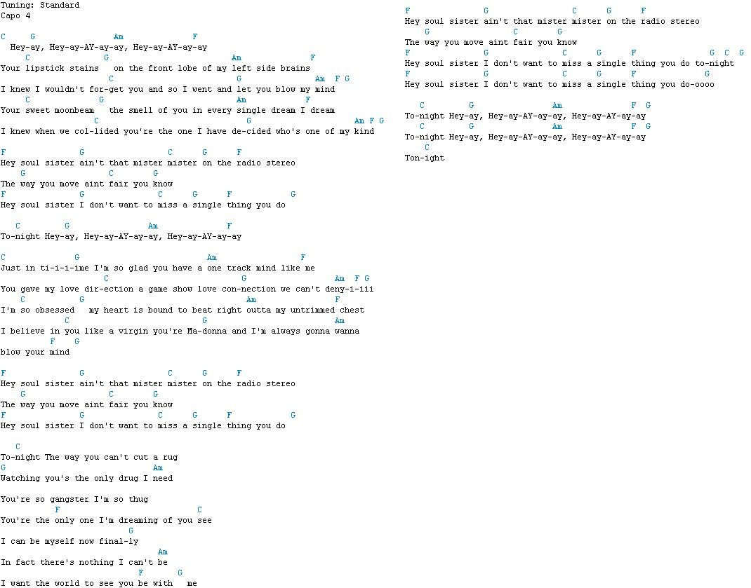 Hey Soul Sister Chords Train Tabs Awesome Guitar Tabs