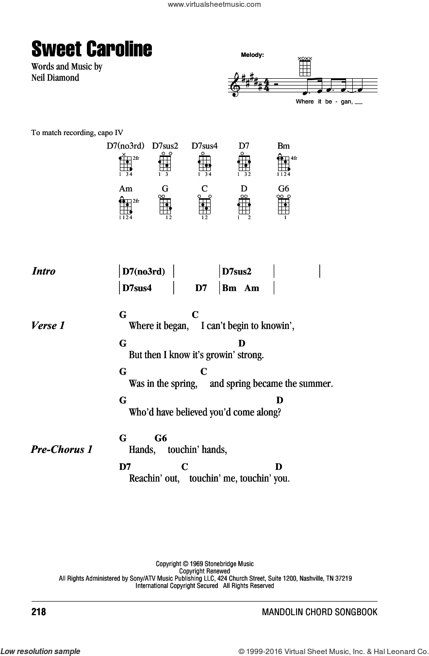 Hey There Delilah Chords Diamond Sweet Caroline Sheet Music For Mandolin Chords Only