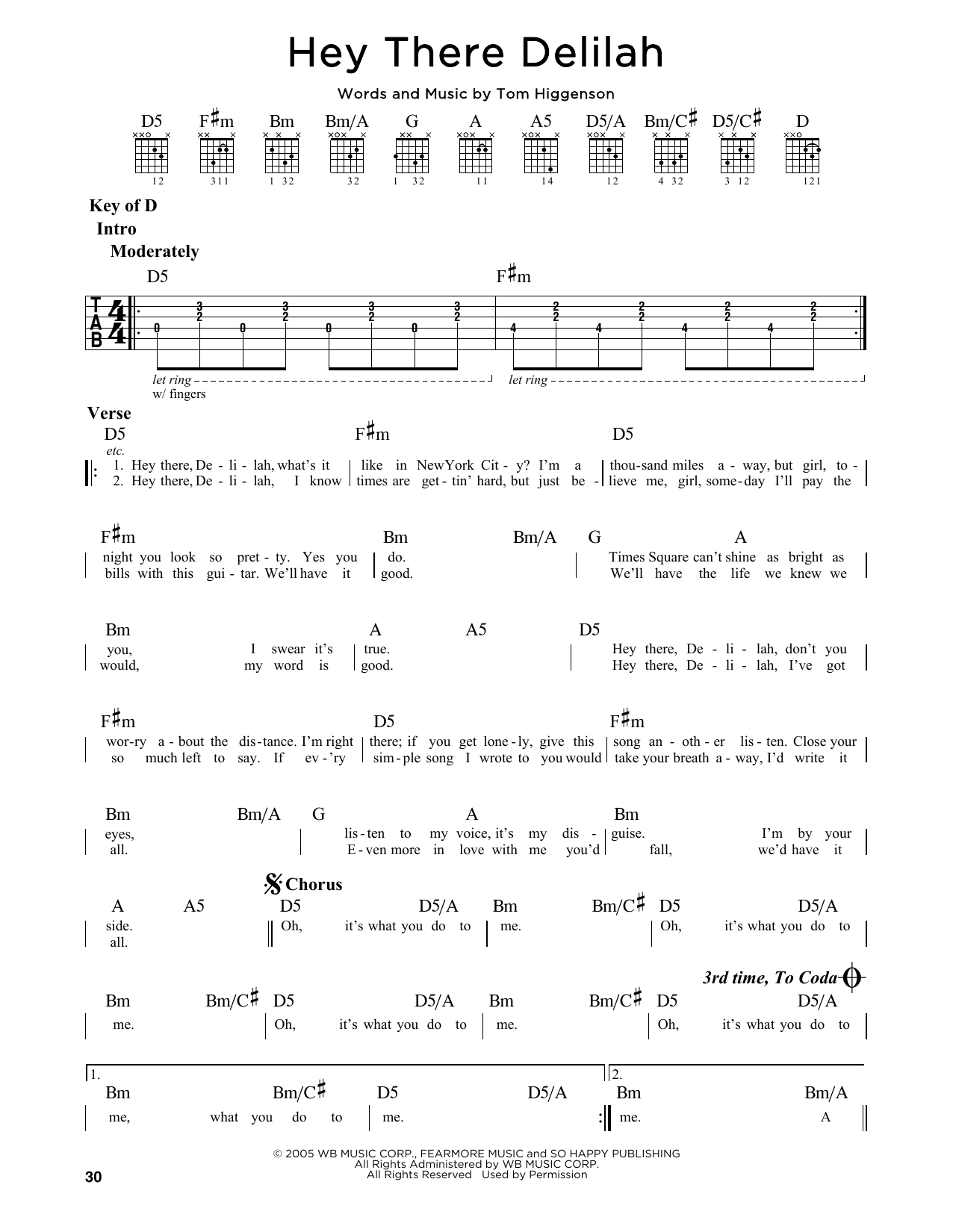 Hey There Delilah Chords Hey There Delilah Plain White Ts Lead Sheet Fake Book Digital Sheet Music