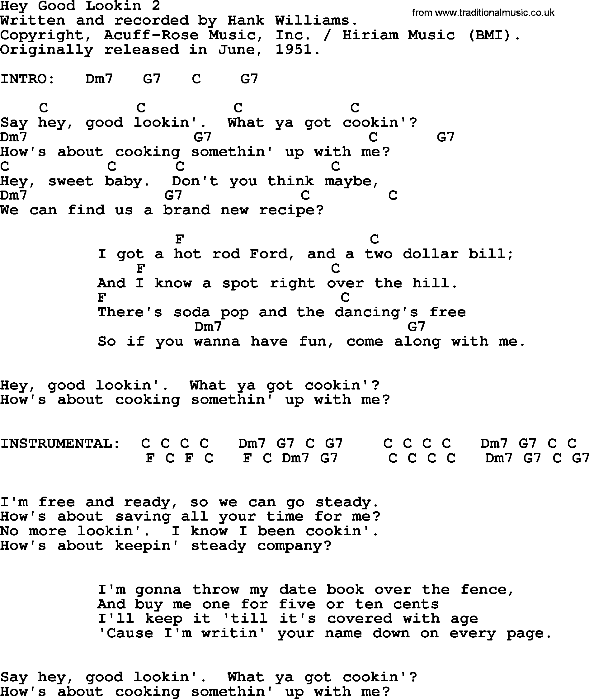 Hey Ya Chords Hank Williams Song Hey Good Lookin 2 Lyrics And Chords