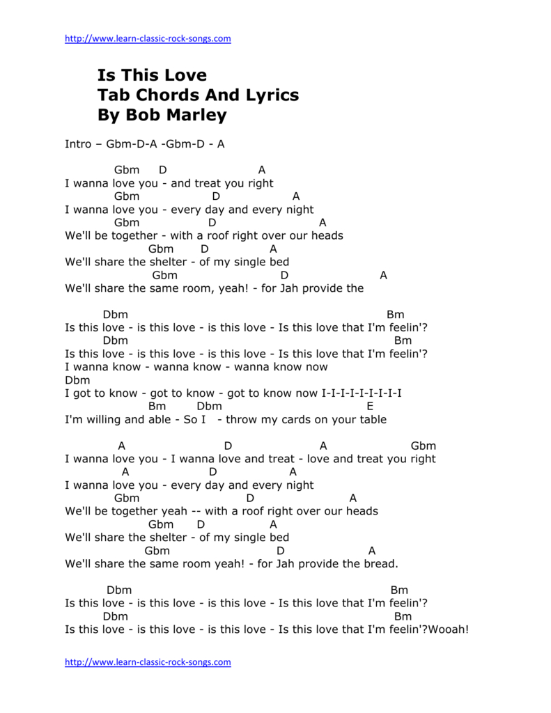 Hey Ya Chords Is This Love Tab Chords And Lyrics Bob Marley