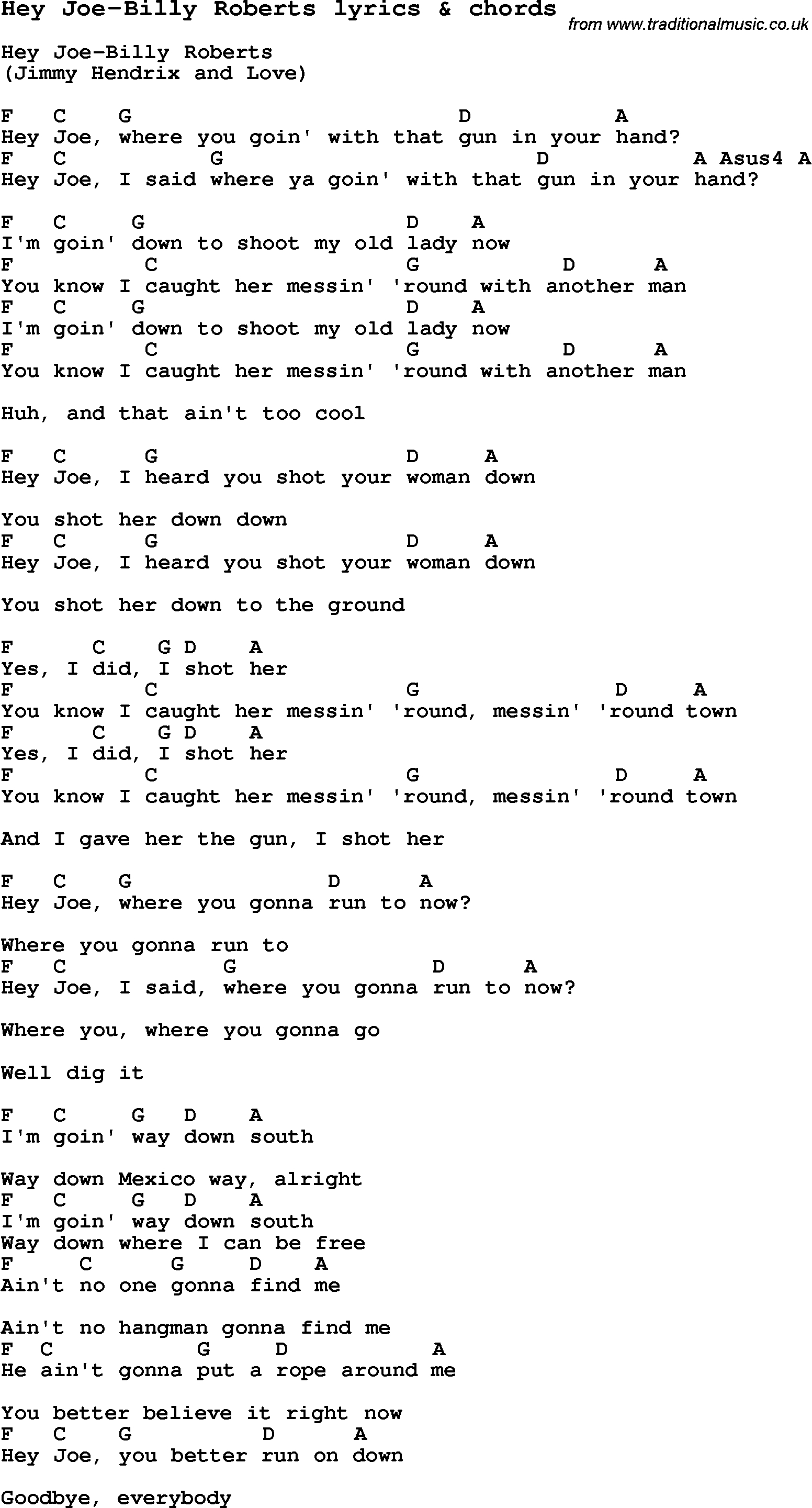 Hey Ya Chords Love Song Lyrics Forhey Joe Billy Roberts With Chords