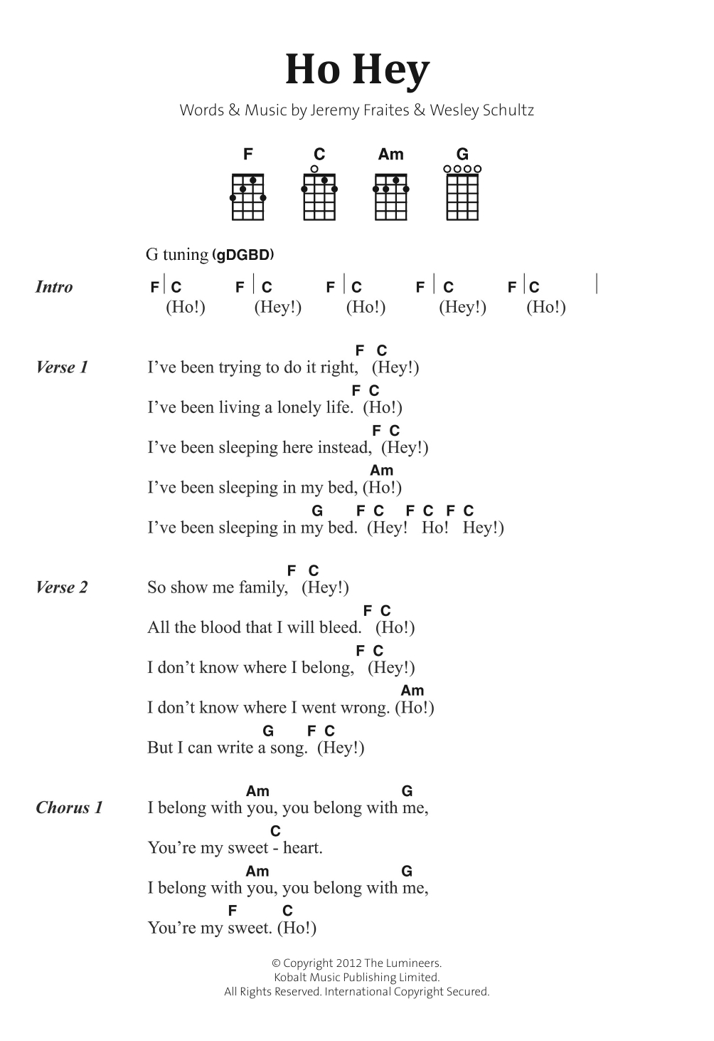 Ho Hey Chords Ho Hey Sheet Music The Lumineers Banjo Chordslyrics