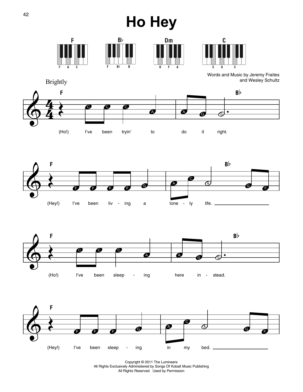 Ho Hey Chords Ho Hey Sheet Music The Lumineers Super Easy Piano