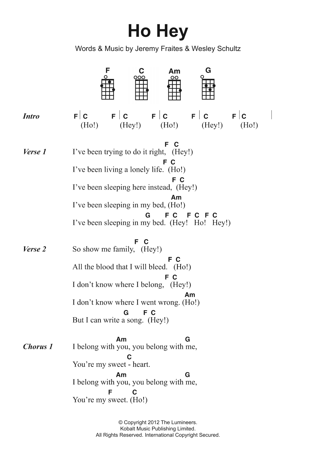 Ho Hey Chords Ho Hey Sheet Music The Lumineers Ukulele Chordslyrics