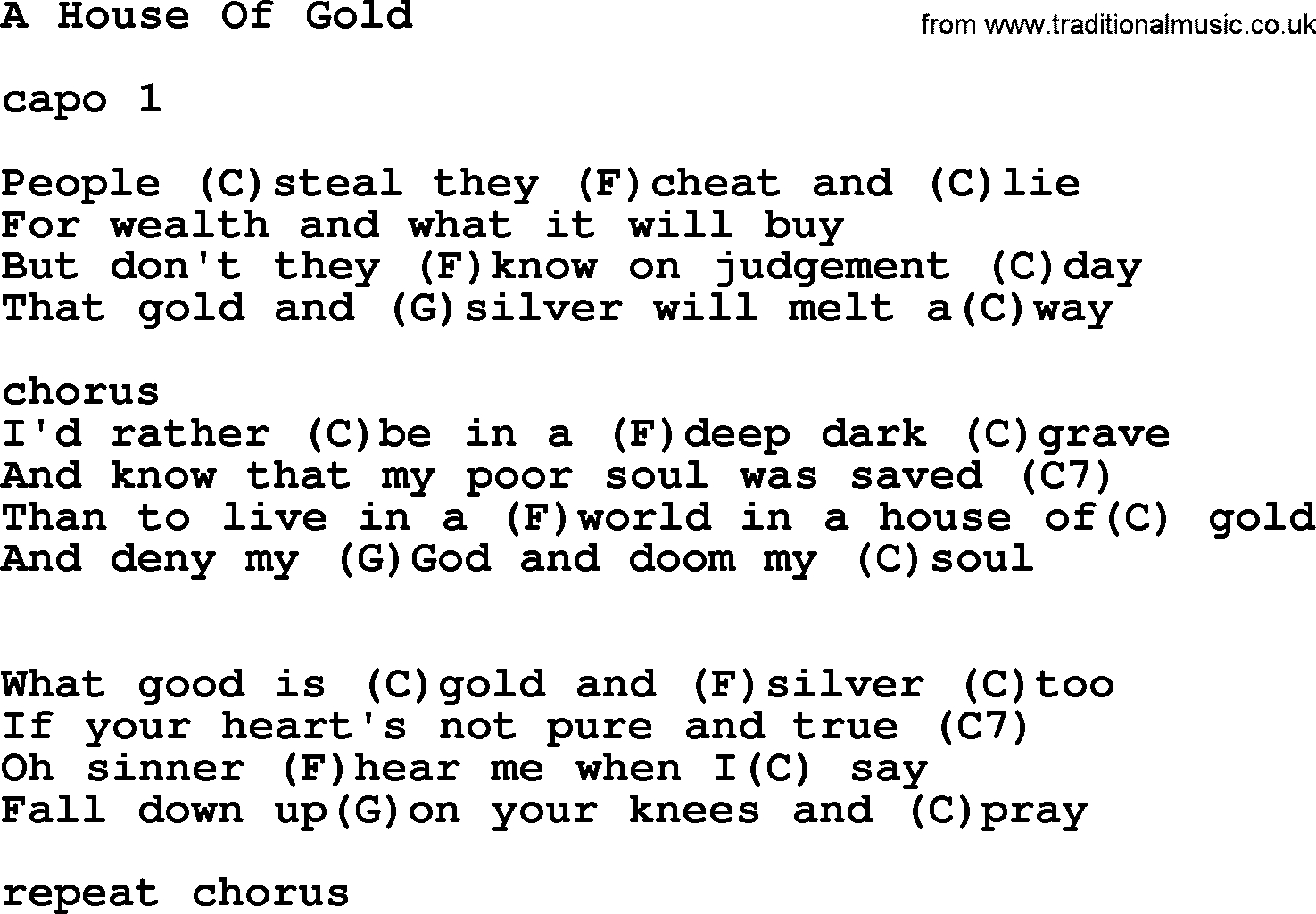 House Of Gold Chords Hank Williams Song A House Of Gold Lyrics And Chords