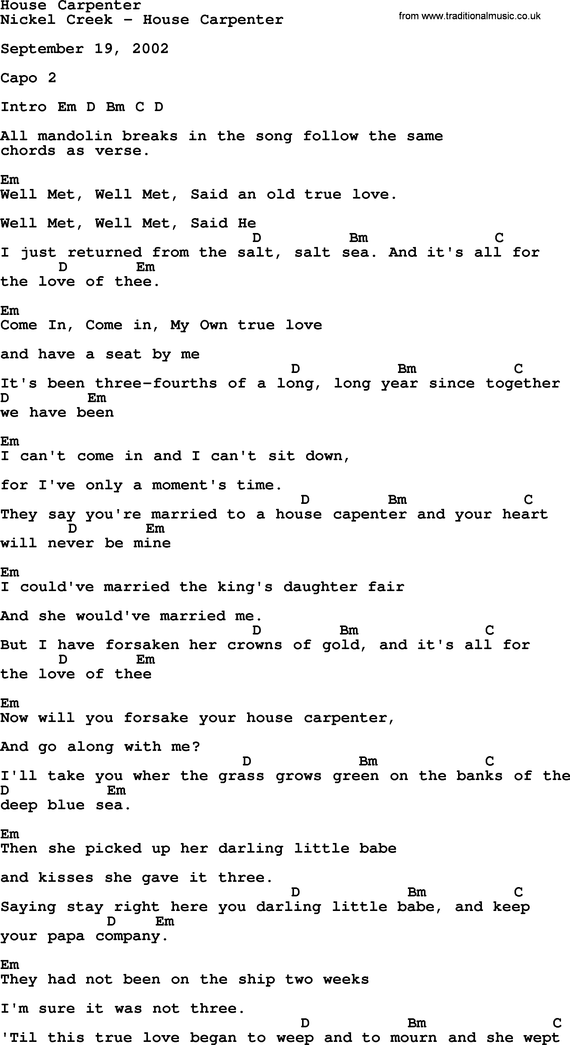 House Of Gold Chords House Carpenter Bluegrass Lyrics With Chords