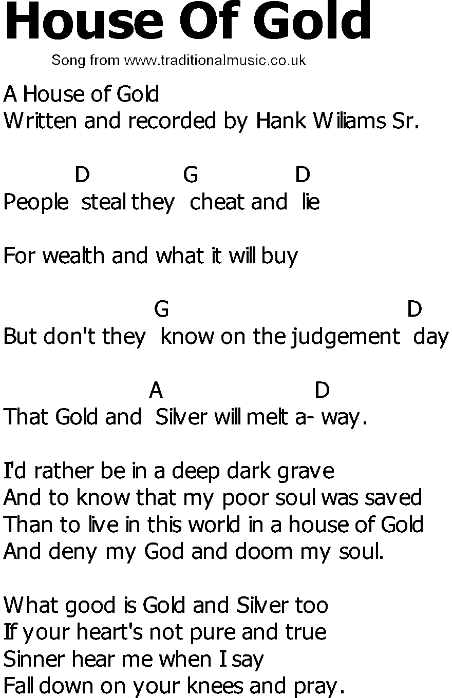 House Of Gold Chords Old Country Song Lyrics With Chords House Of Gold