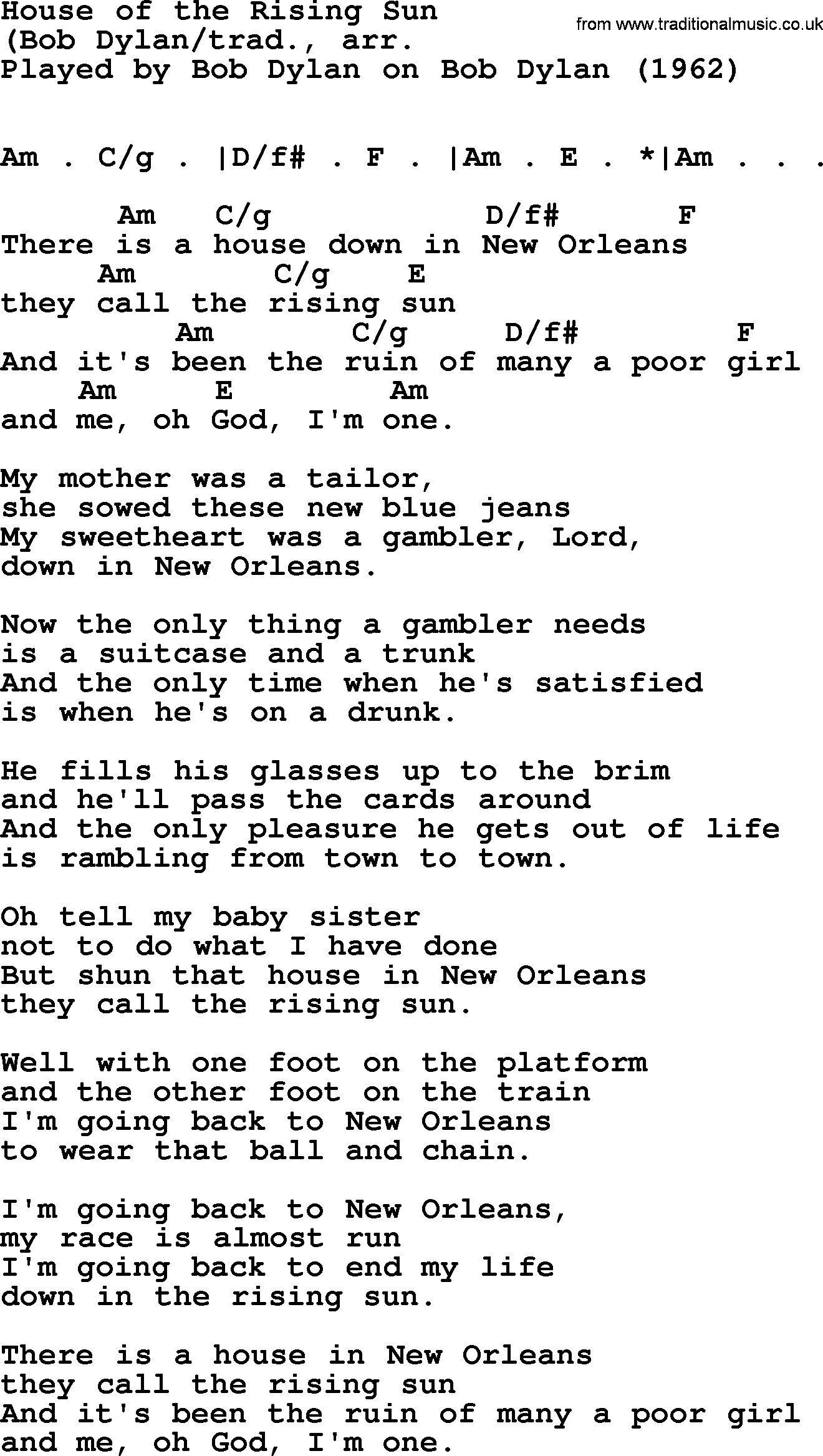 House Of The Rising Sun Chords Bob Dylan Song House Of The Rising Sun Lyrics And Chords