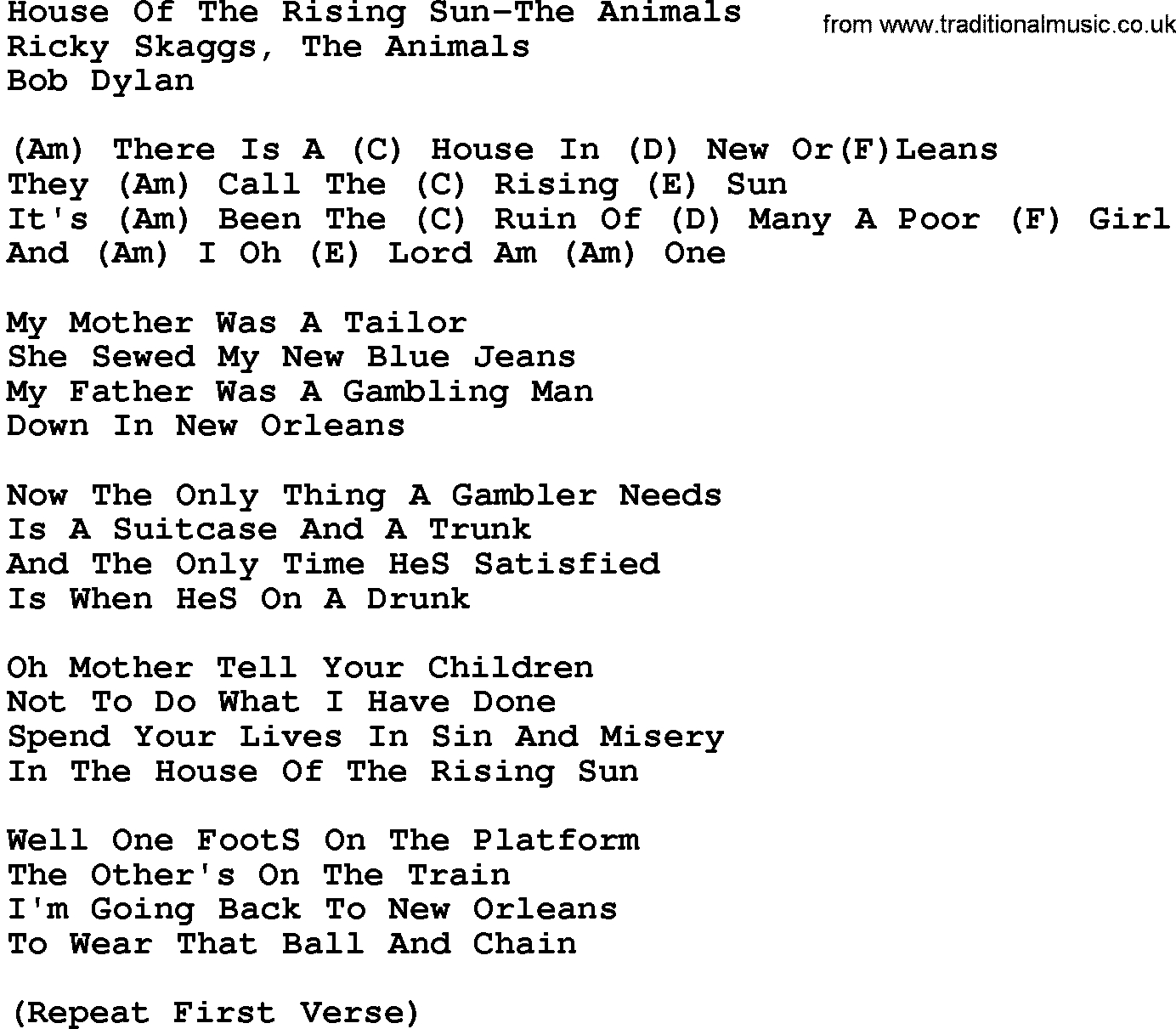 House Of The Rising Sun Chords Country Musichouse Of The Rising Sun The Animals Lyrics And Chords