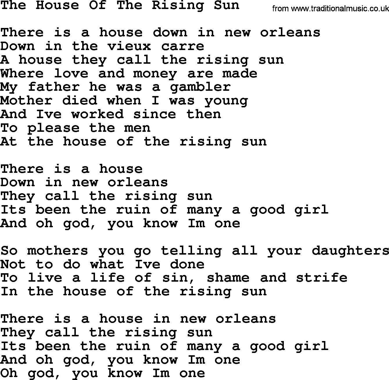 House Of The Rising Sun Chords Dolly Parton Song The House Of The Rising Sun Lyrics