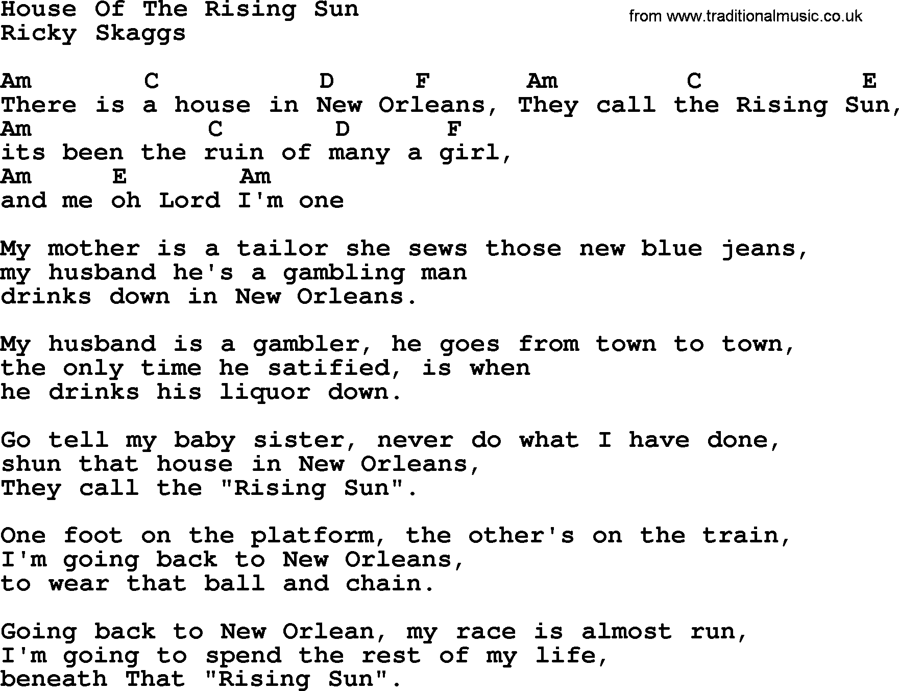 House Of The Rising Sun Chords House Of The Rising Sun Bluegrass Lyrics With Chords