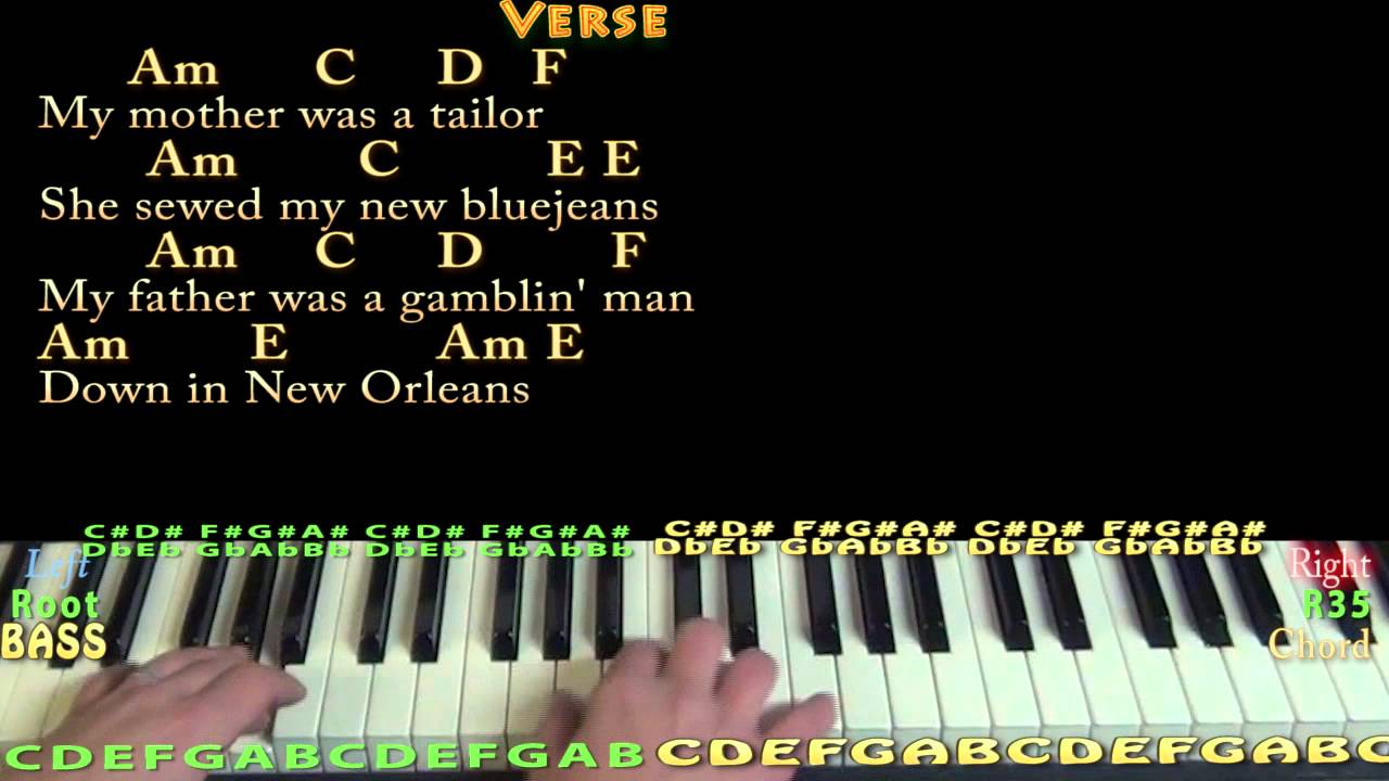 House Of The Rising Sun Chords House Of The Rising Sun Piano Cover With Chordslyrics