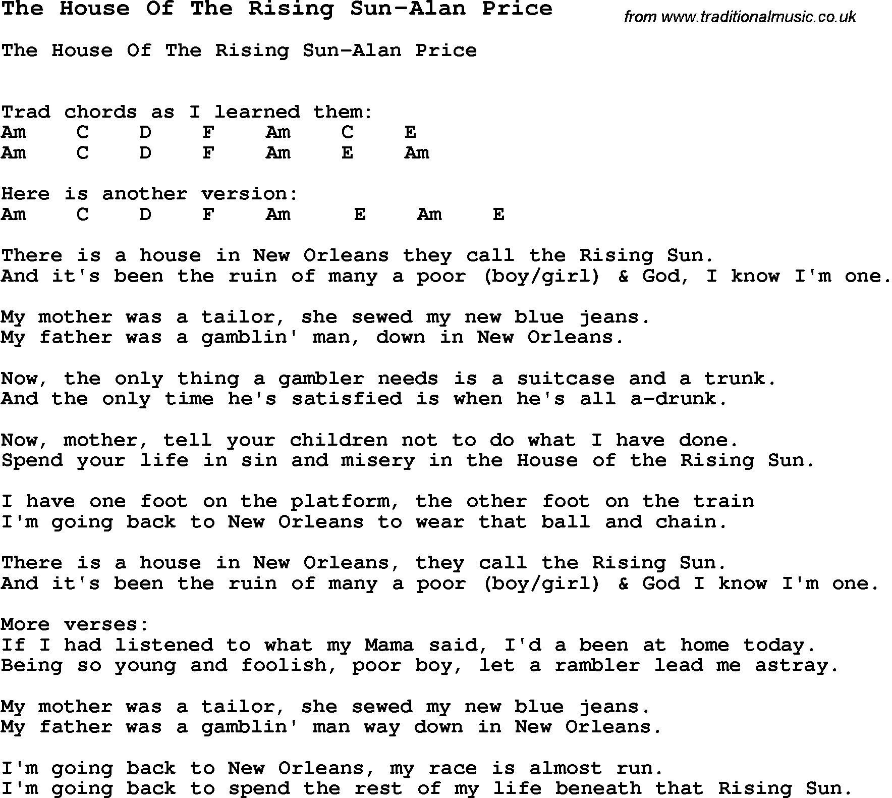 House Of The Rising Sun Chords Summer Camp Song The House Of The Rising Sun Alan Price With