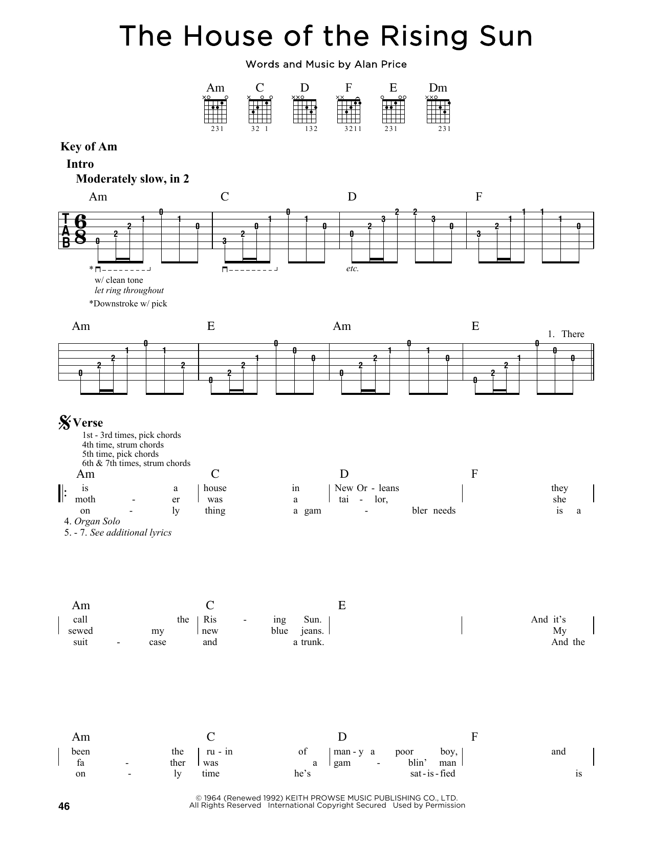 House Of The Rising Sun Chords The House Of The Rising Sun The Animals Piano Vocal Guitar Right Hand Melody Digital Sheet Music