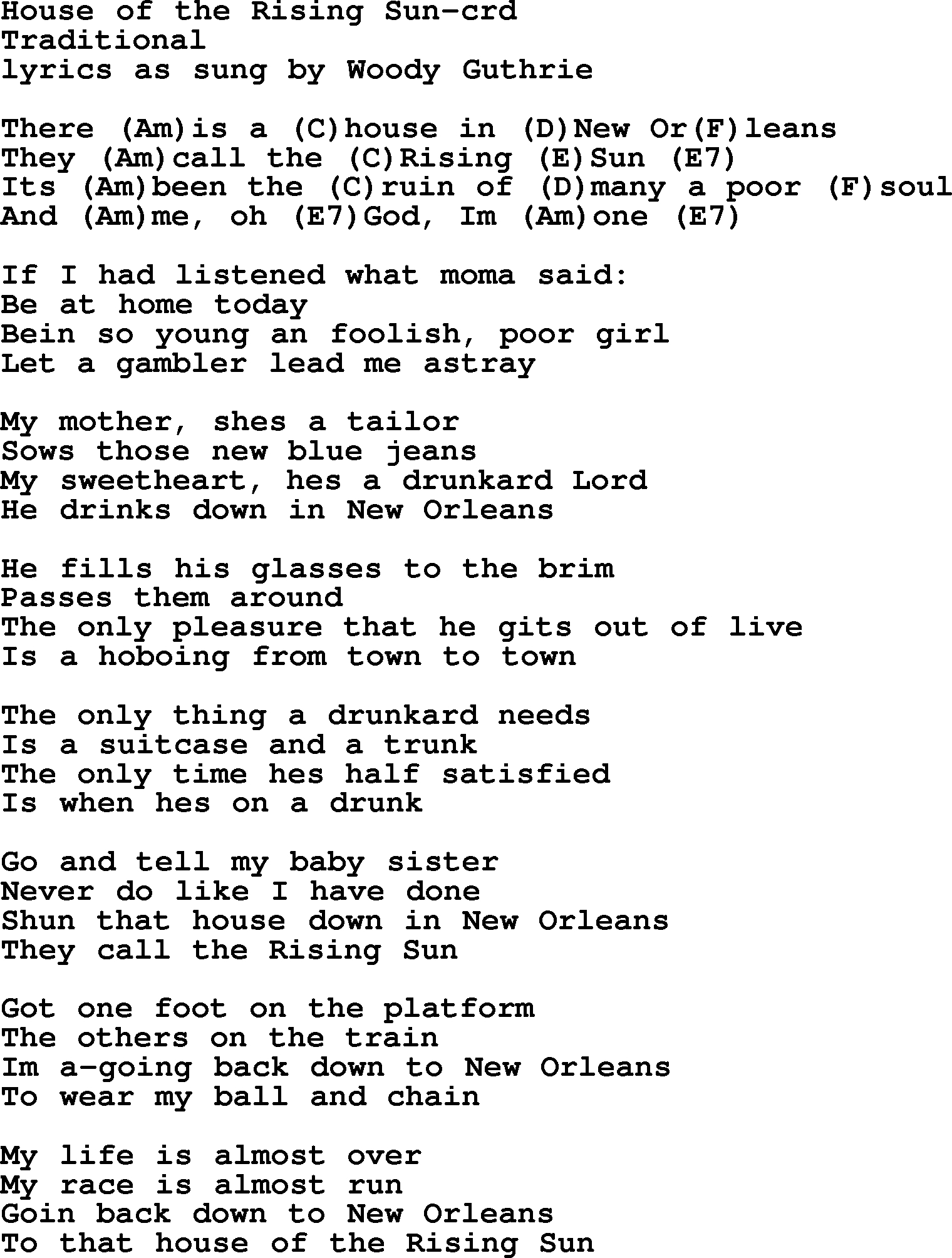 House Of The Rising Sun Chords Woody Guthrie Song House Of The Rising Sun Lyrics And Chords