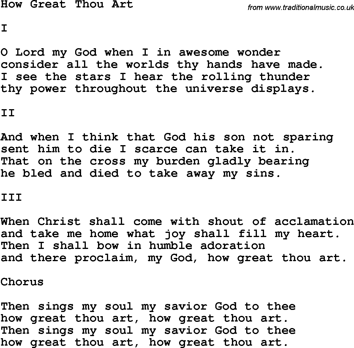 How Great Thou Art Chords Country Southern And Bluegrass Gospel Song How Great Thou Art Lyrics