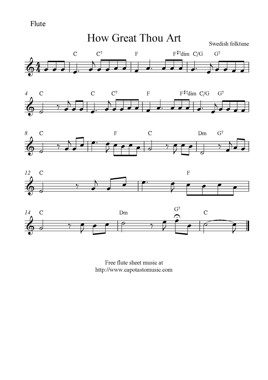 How Great Thou Art Chords How Great Thou Art Free Christian Flute Sheet Music Notes