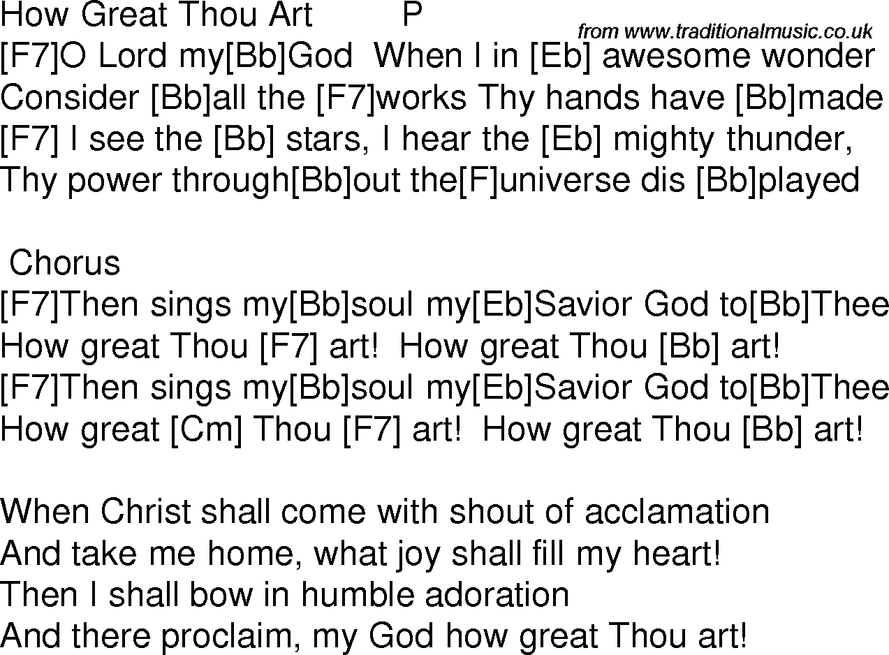 How Great Thou Art Chords Old Time Song Lyrics With Guitar Chords For How Great Thou Art F