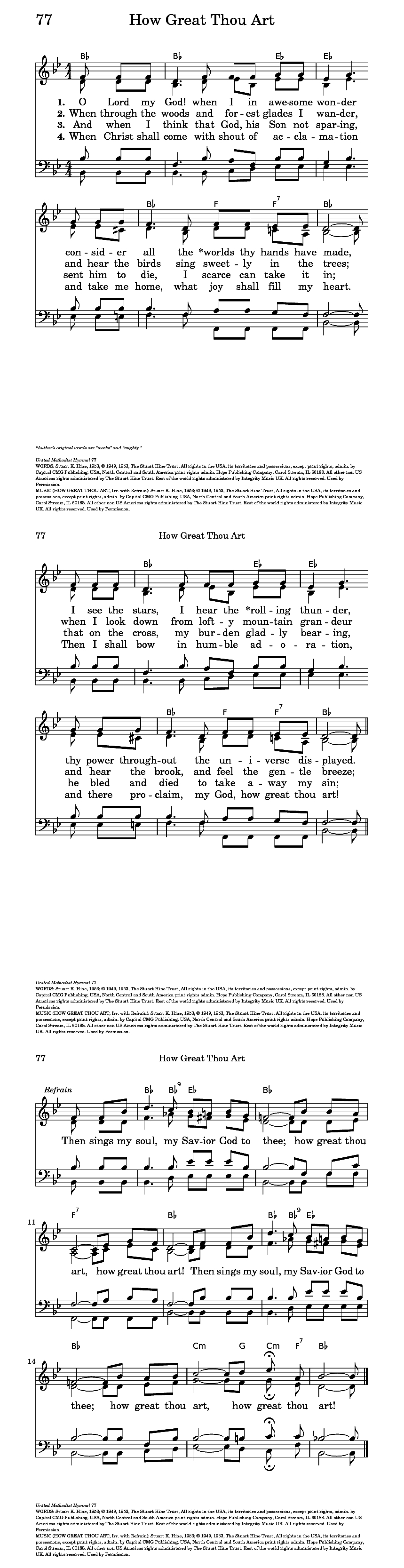 How Great Thou Art Chords The United Methodist Hymnal 77 O Lord My God When I In Awesome