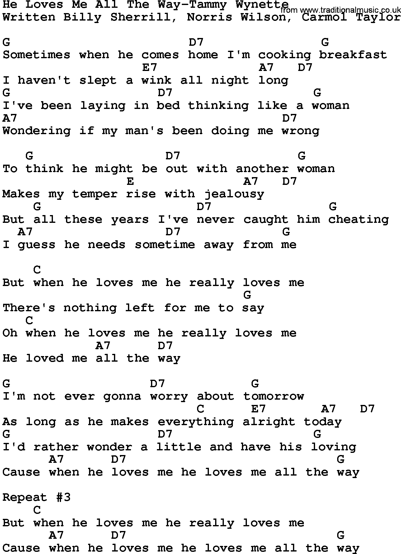 How He Loves Chords Country Musiche Loves Me All The Way Tammy Wynette Lyrics And Chords