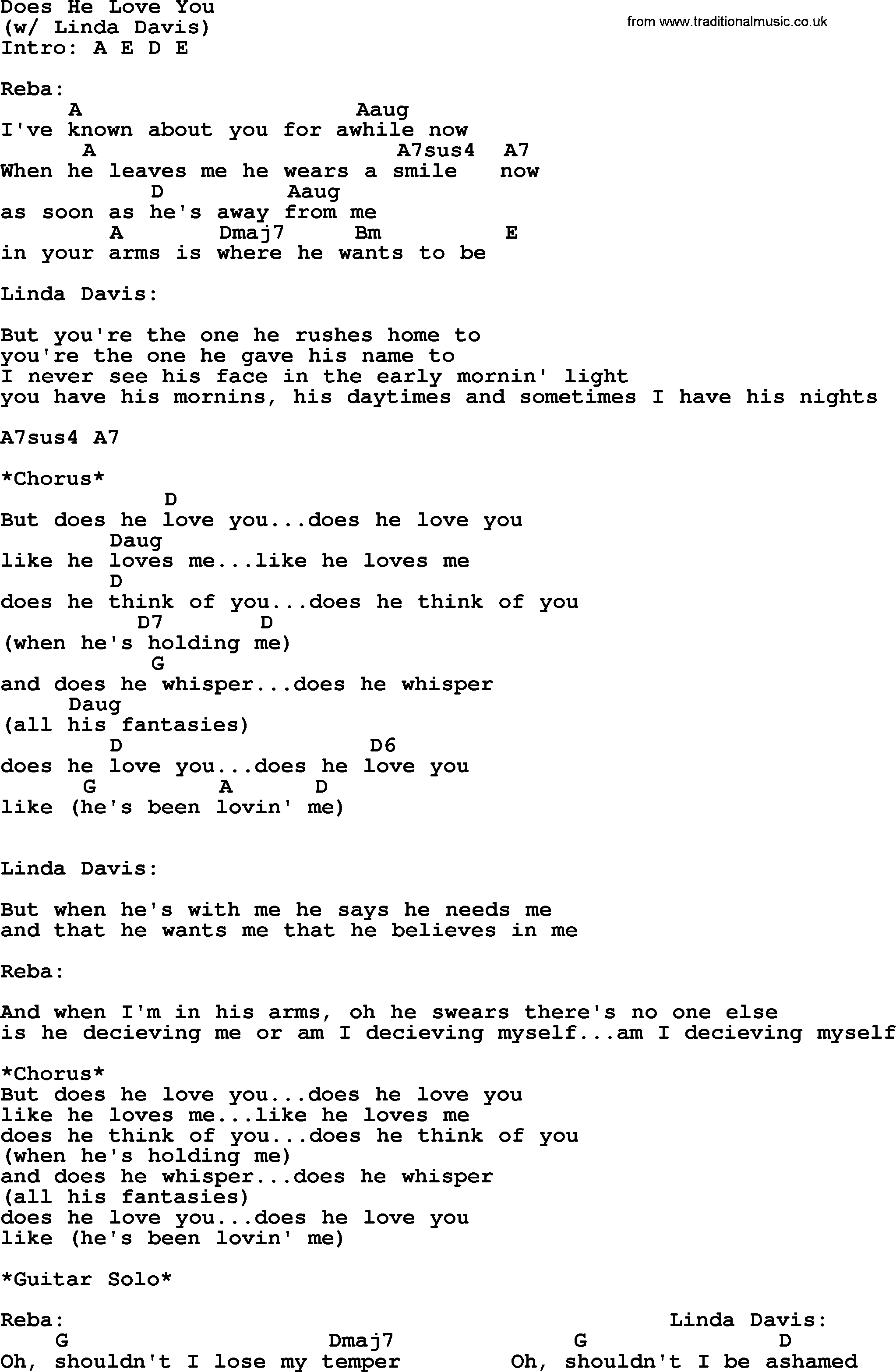 How He Loves Chords Does He Love You Reba Mcentire Lyrics And Chords