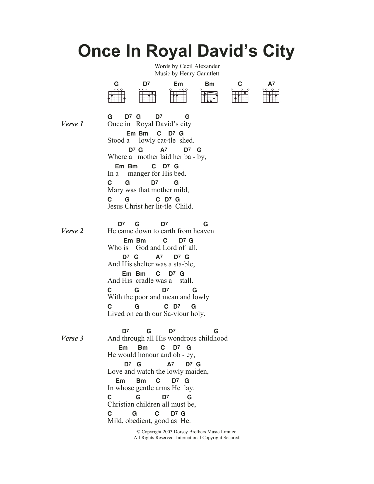 How He Loves Chords Once In Royal Davids City Sheet Music Christmas Carol Guitar