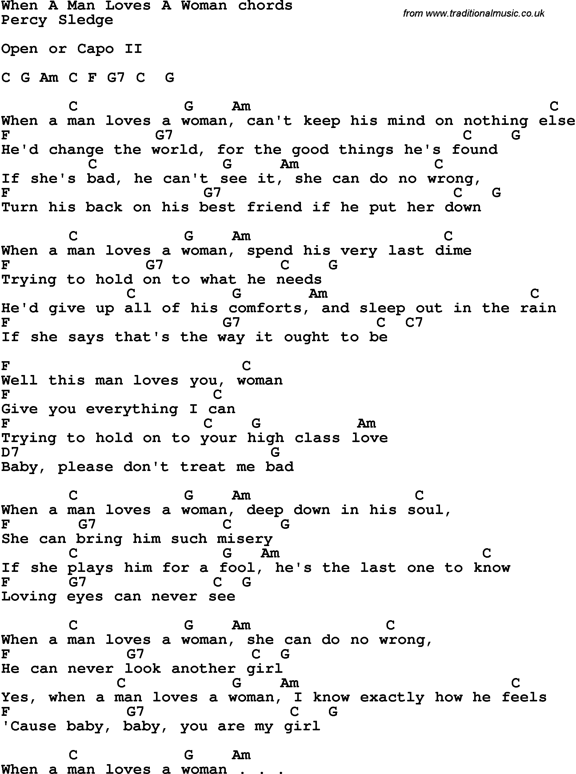 How He Loves Chords Song Lyrics With Guitar Chords For When A Man Loves A Woman