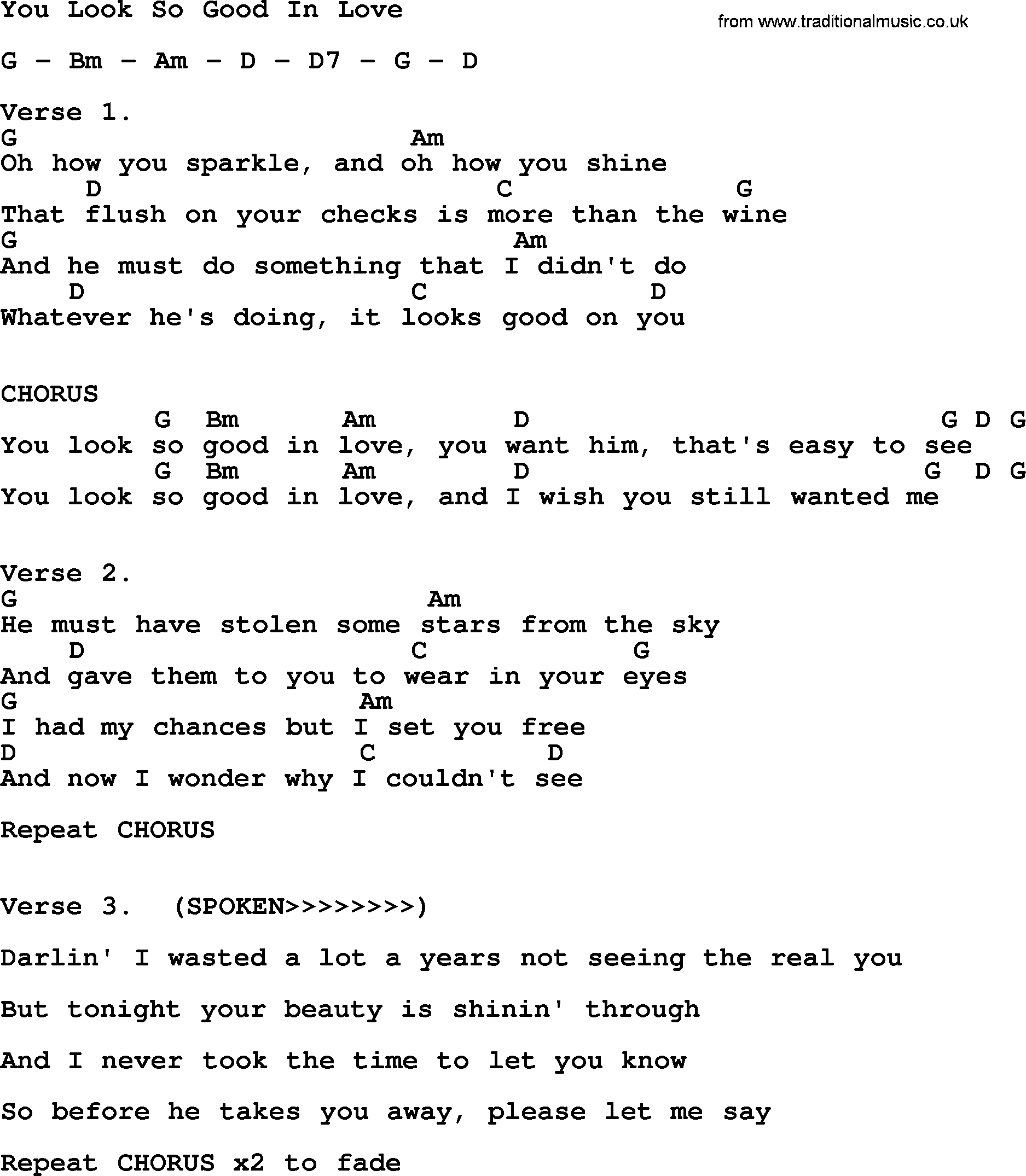 How He Loves Chords You Look So Good In Love George Strait Lyrics And Chords