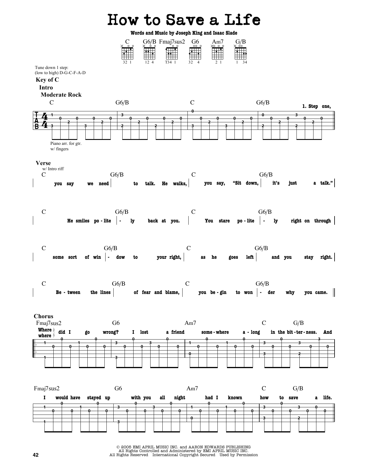 How To Save A Life Chords How To Save A Life The Fray Piano Vocal Guitar Right Hand Melody Digital Sheet Music