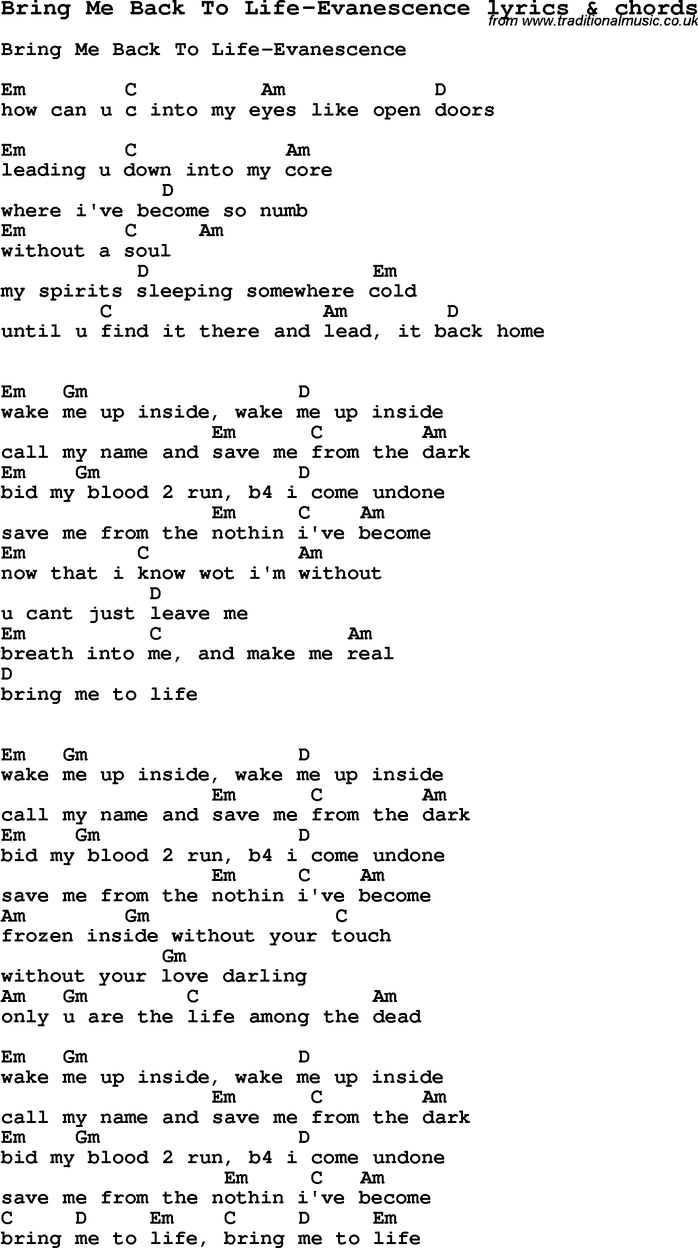 How To Save A Life Chords Love Song Lyrics Forbring Me Back To Life Evanescence With Chords