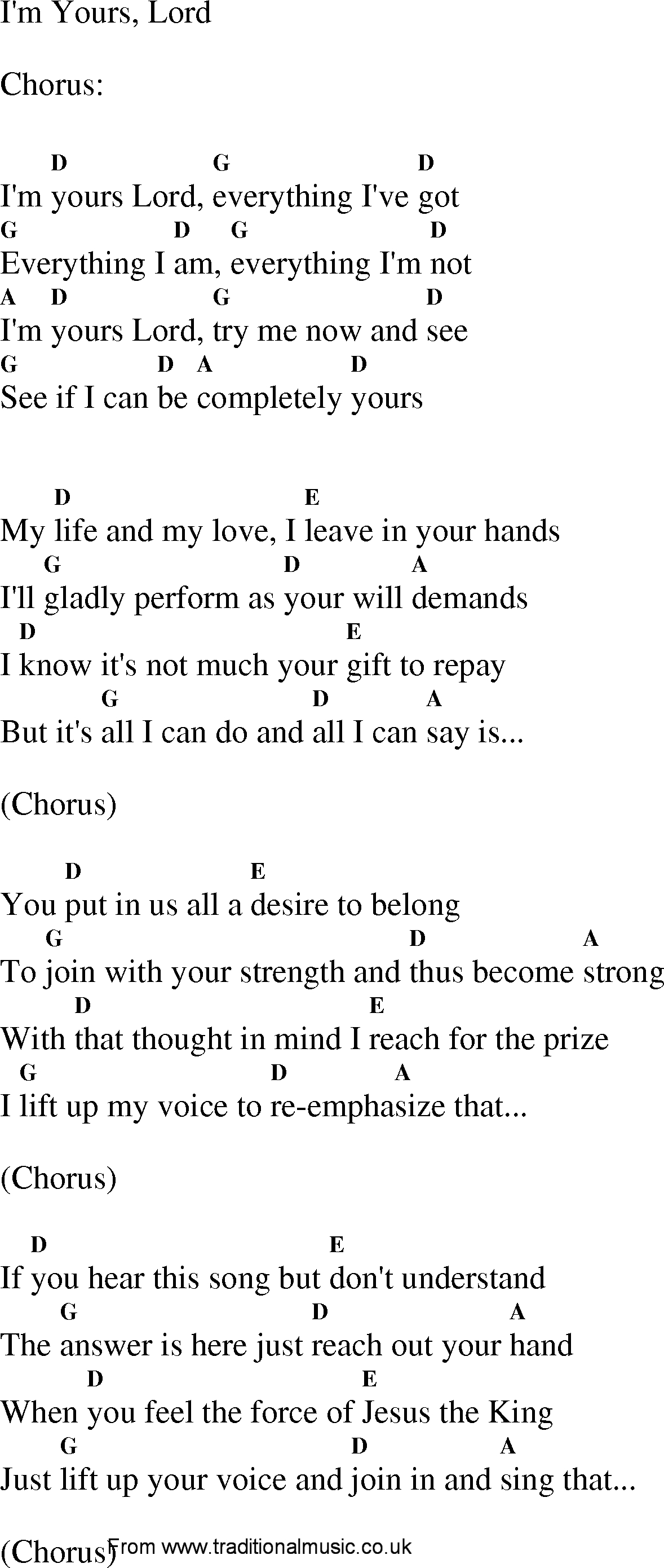 I M Yours Chords Christian Gospel Worship Song Lyrics With Chords Im Yours Lord
