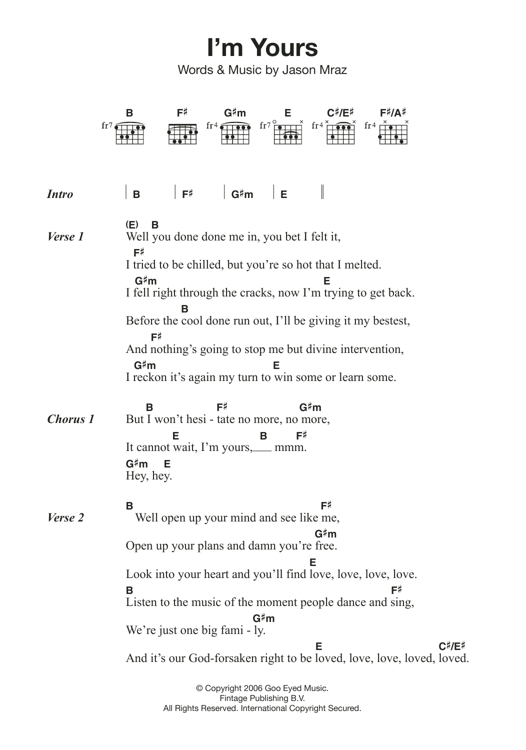 I M Yours Chords Im Yours Jason Mraz Piano Vocal Guitar Right Hand Melody Digital Sheet Music