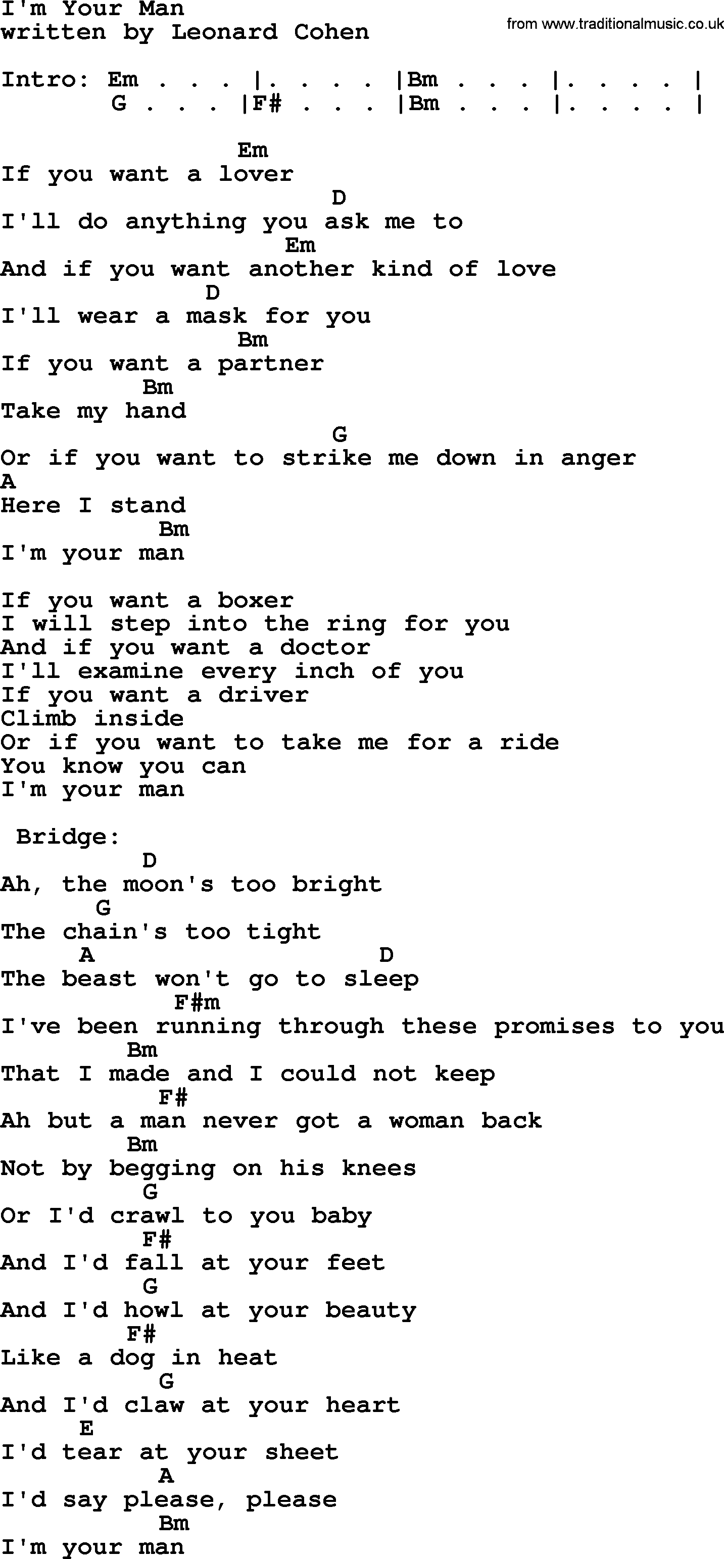 I M Yours Chords Leonard Cohen Song Im Your Man Lyrics And Chords