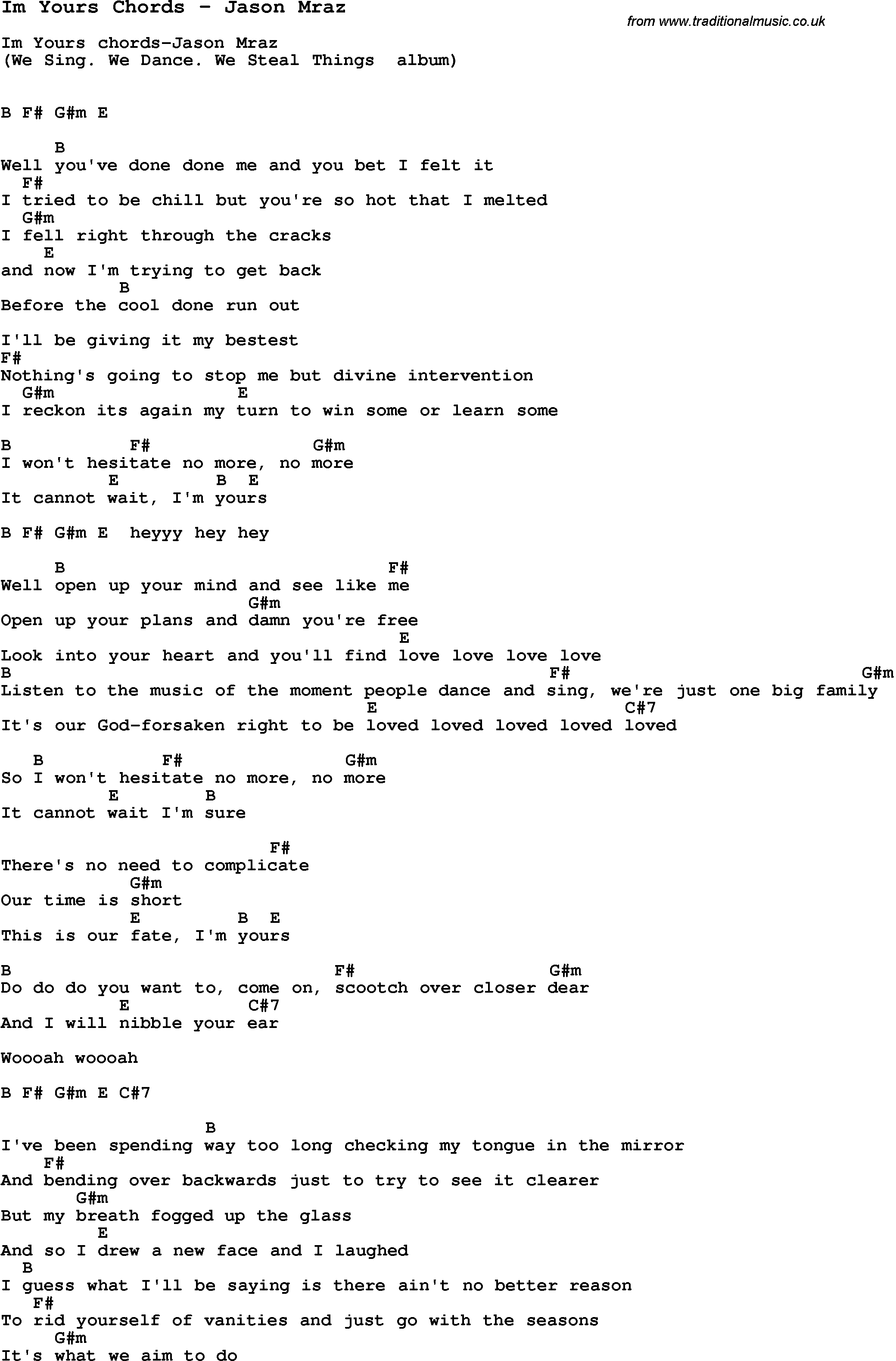 I M Yours Chords Song Im Yours Chords Jason Mraz Song Lyric For Vocal Performance