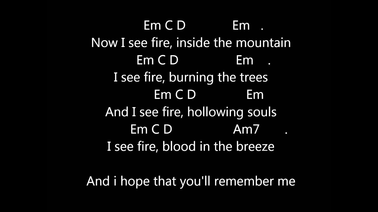 I See Fire Chords Ed Sheeran I See Fire Lyrics Guitar Chords Metronome 76bpm