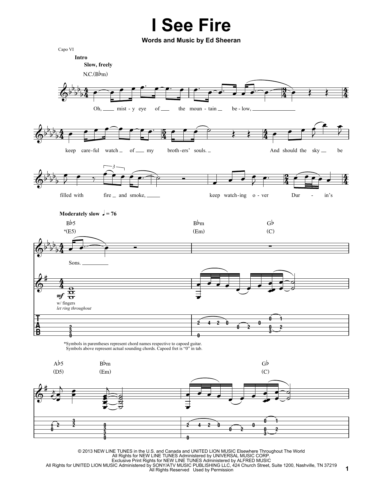 I See Fire Chords I See Fire From The Hobbit Ed Sheeran Guitar Tab Play Along