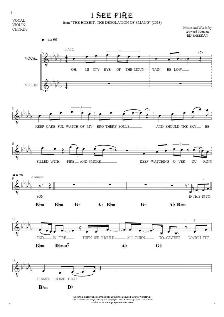 I See Fire Chords I See Fire Notes Lyrics And Chords For Solo Voice With Accompaniment