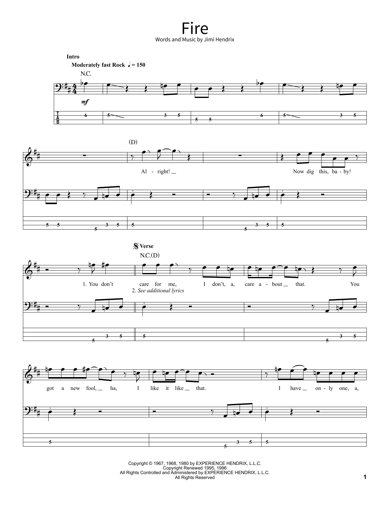 I See Fire Chords Jimi Hendrix Fire Sheet Music Notes Chords Download Printable School Of Rock Bass Guitar Sku 378913