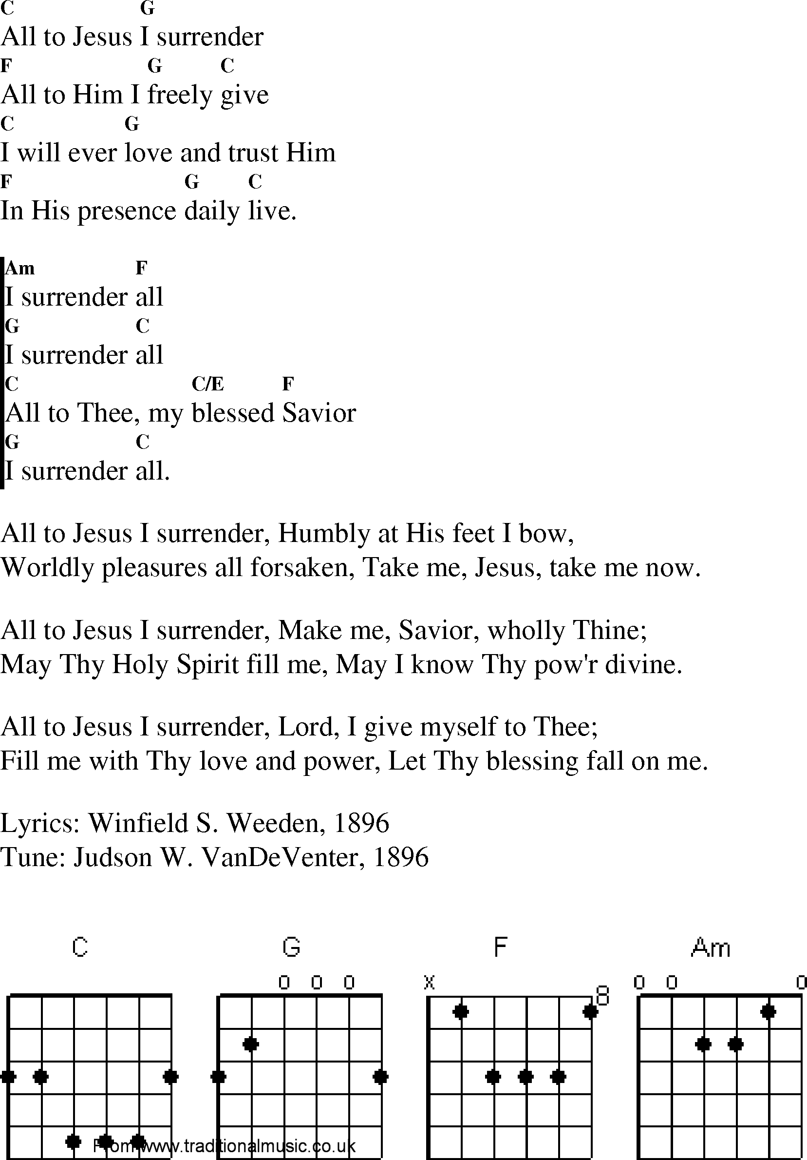 I Surrender Chords Christian Gospel Worship Song Lyrics With Chords I Surrender All