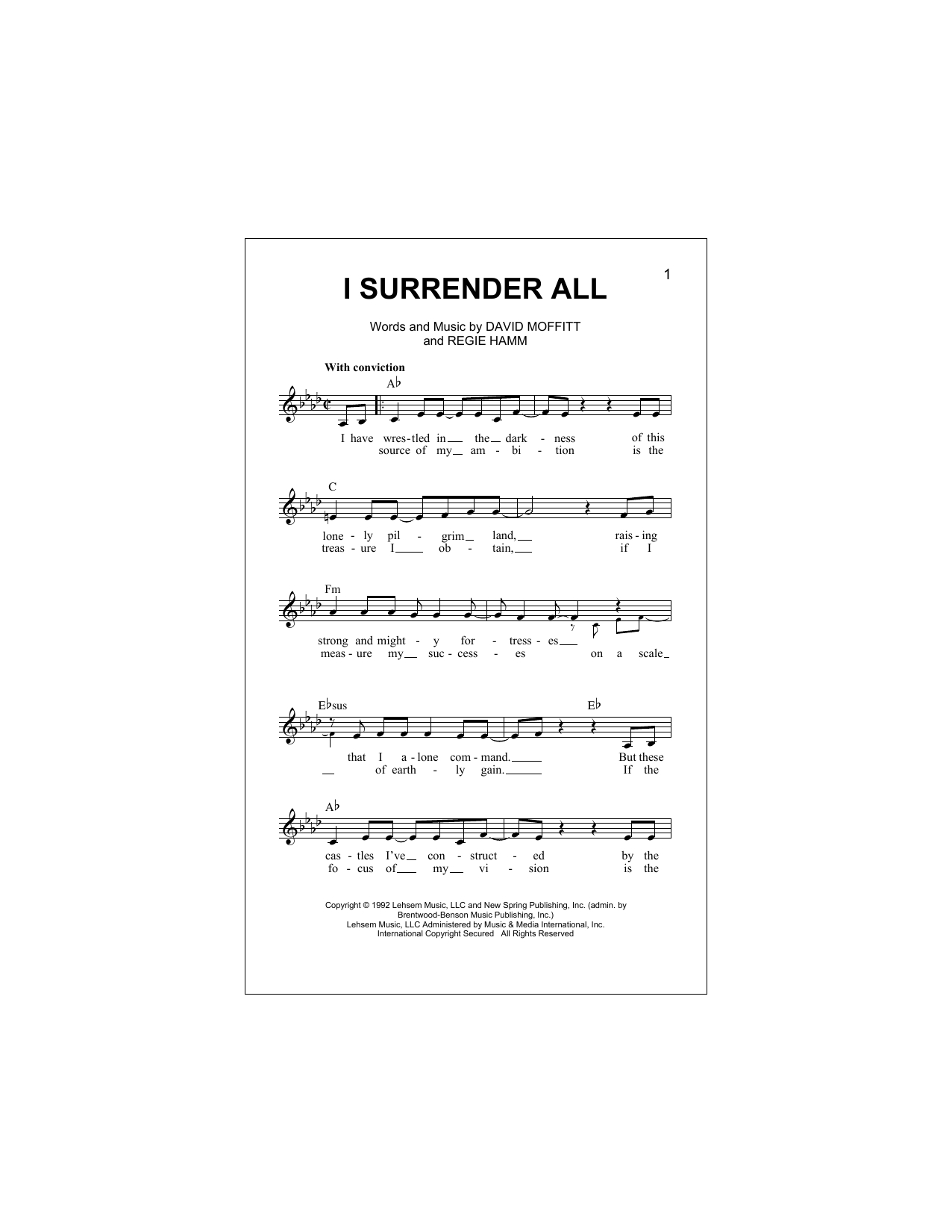 I Surrender Chords I Surrender All Clay Crosse Piano Vocal Guitar Right Hand Melody Digital Sheet Music