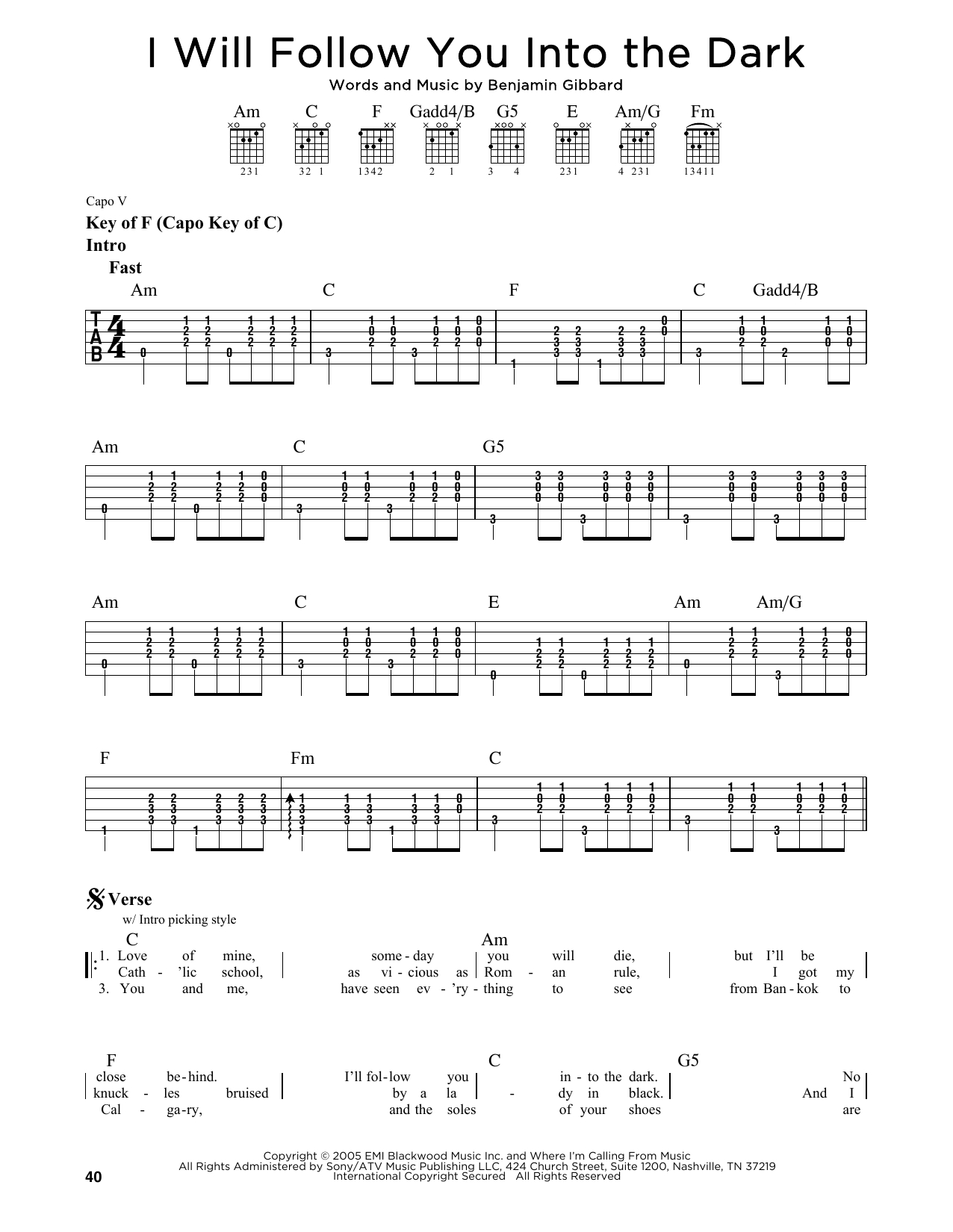 I Will Follow You Into The Dark Chords I Will Follow You Into The Dark Death Cab For Cutie Piano Vocal Guitar Right Hand Melody Digital Sheet Music