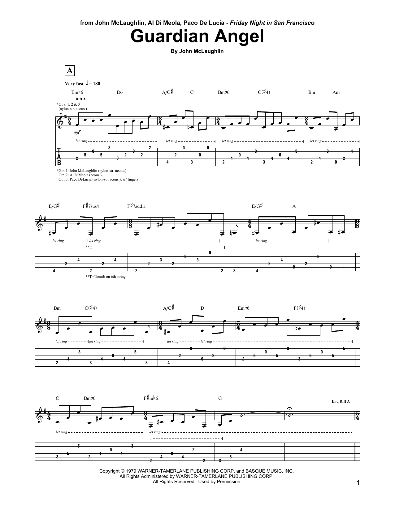 I Will Follow You Into The Dark Chords John Mclaughlin Al Di Meola Paco De Lucia Guardian Angel Sheet Music Notes Chords Download Printable Guitar Tab Sku 162208