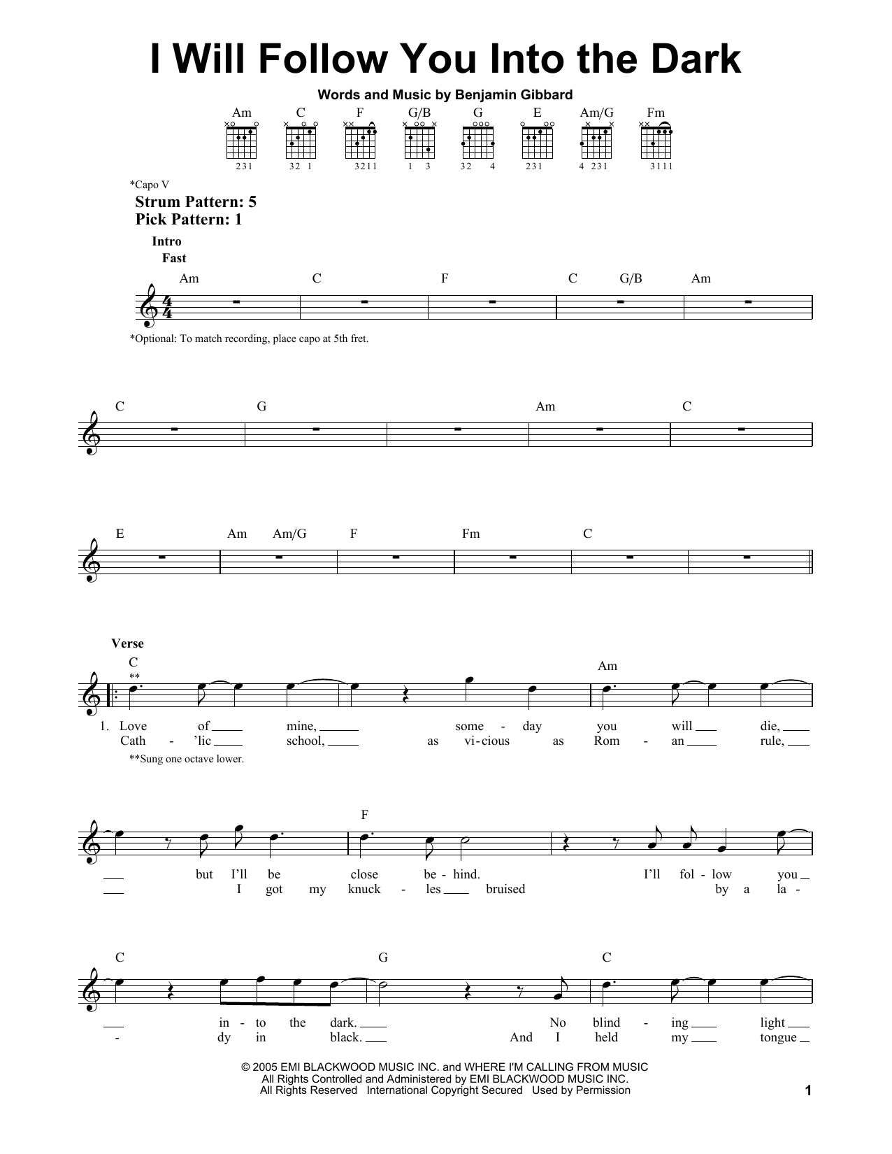 I Will Follow You Into The Dark Chords Sheet Music Digital Files To Print Licensed Death Cab For Cutie