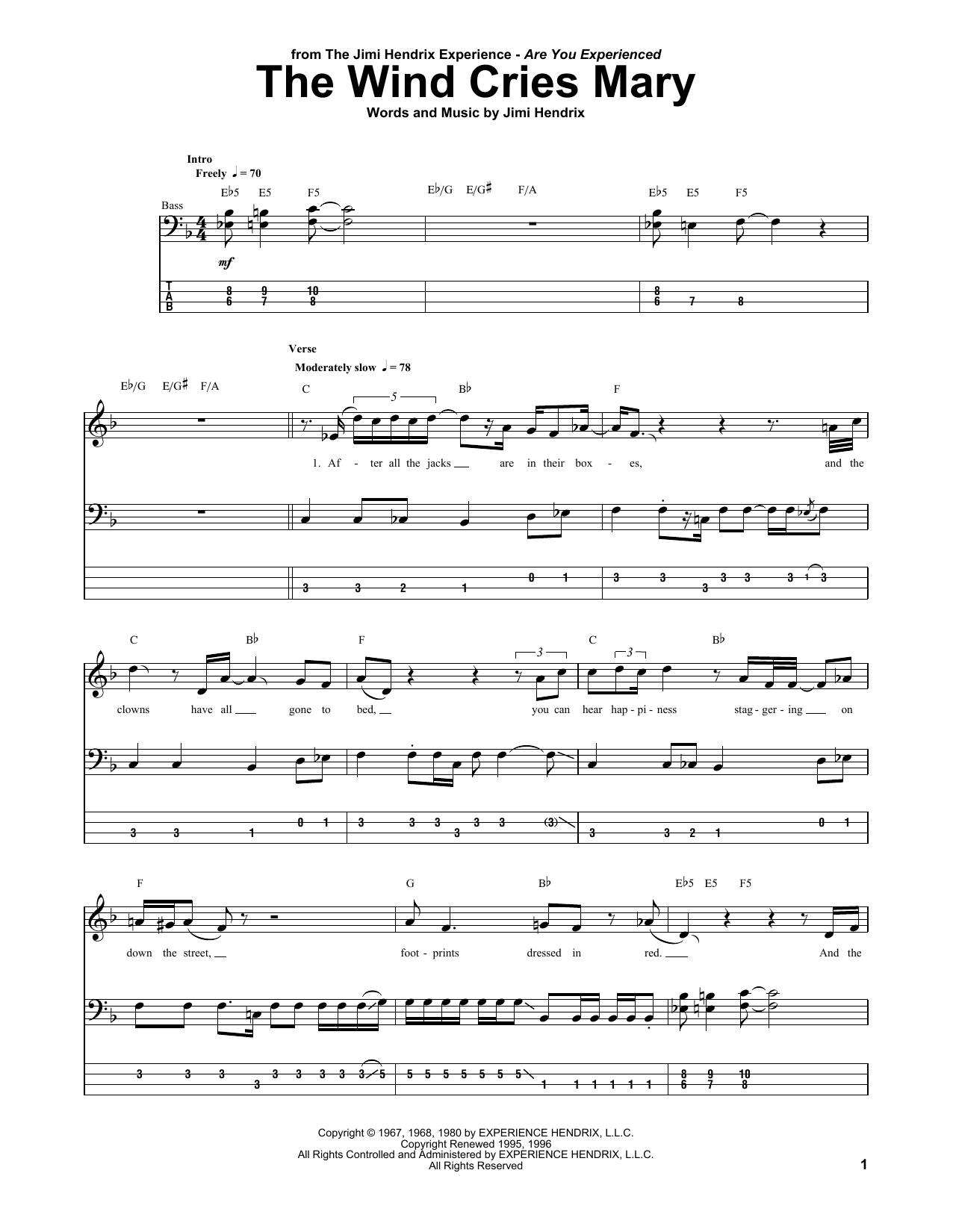 I Will Follow You Into The Dark Chords The Wind Cries Mary Jimi Hendrix Bass Tab Guitar Instructor