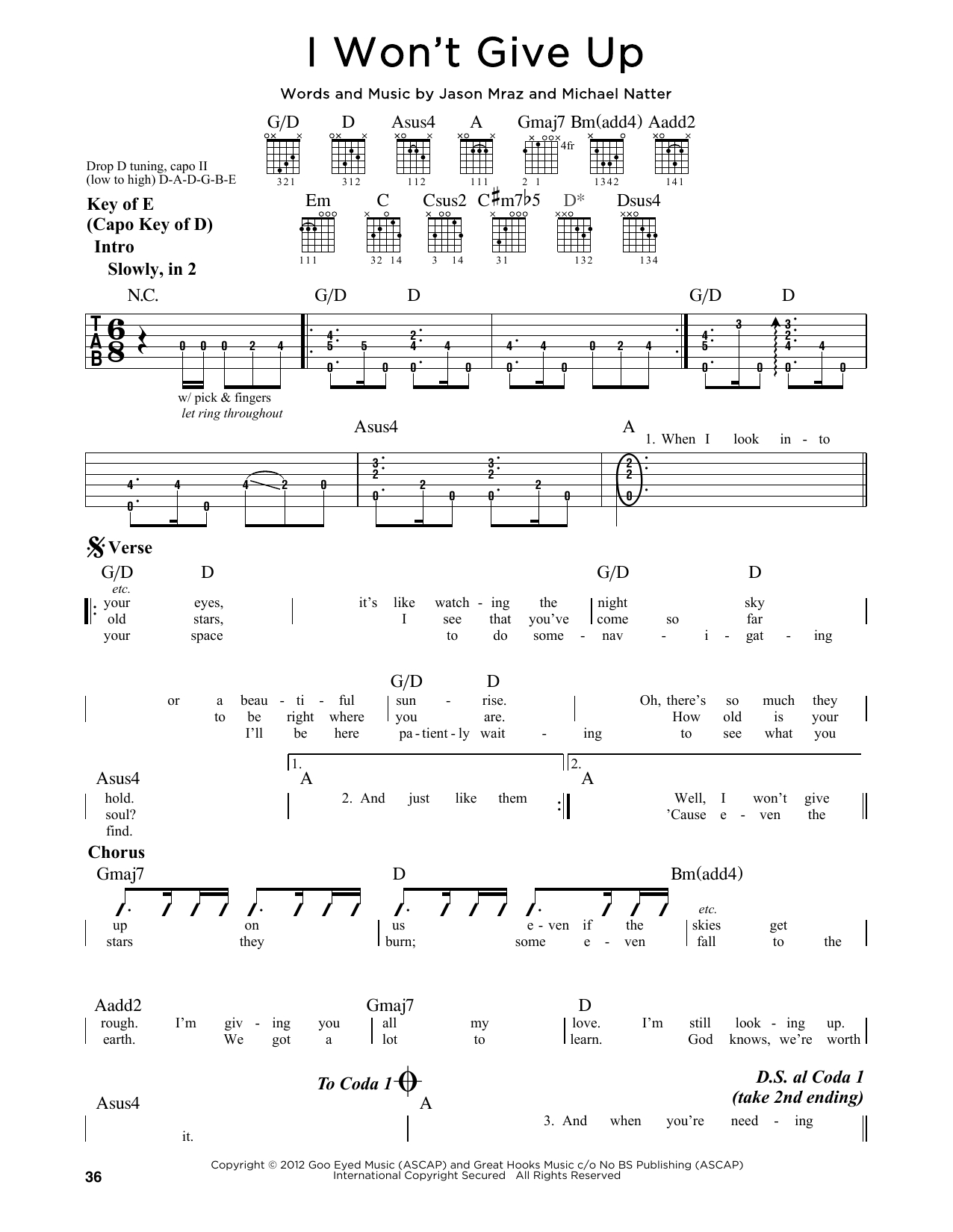I Won T Give Up Chords I Wont Give Up Jason Mraz Piano Vocal Guitar Right Hand Melody Digital Sheet Music